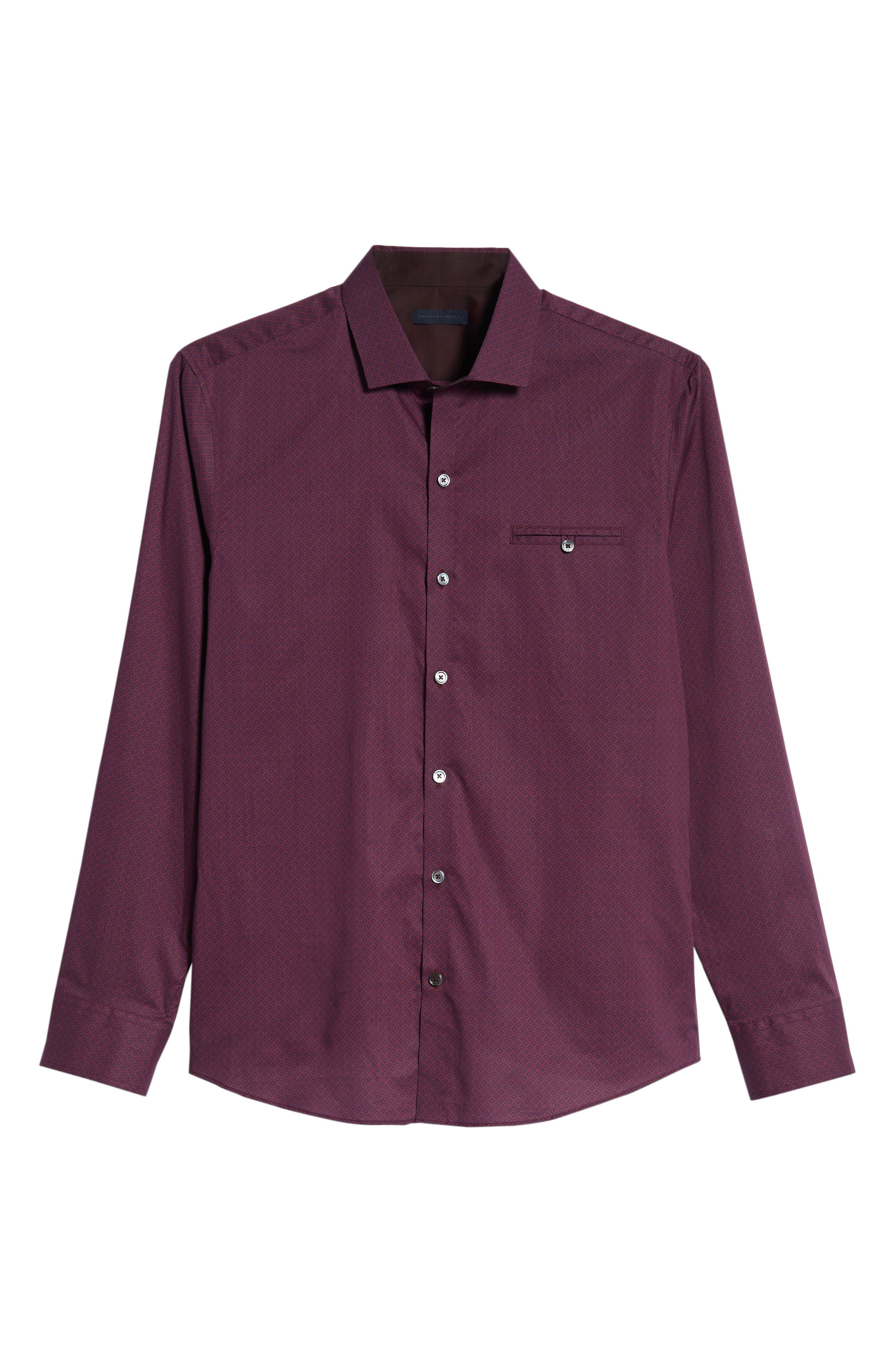Shamus Regular Fit Sport Shirt,                             Alternate thumbnail 5, color,                             MAROON