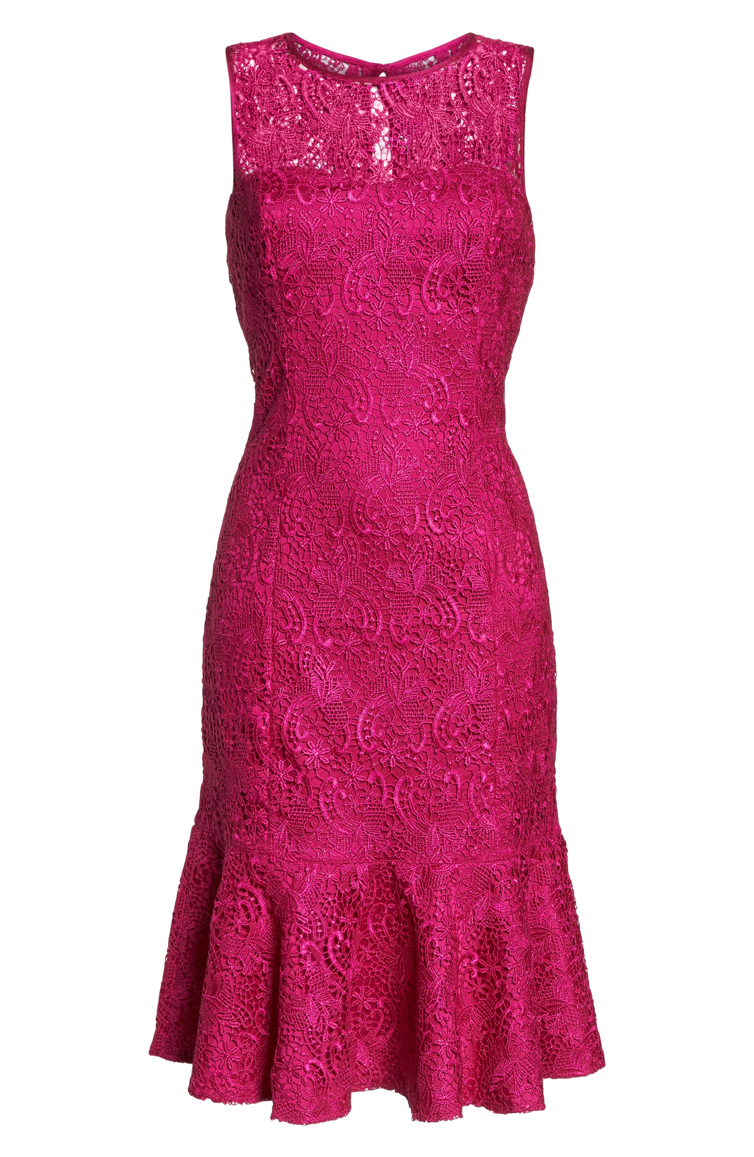 Sleeveless Lace Sheath Dress,                             Alternate thumbnail 7, color,                             660