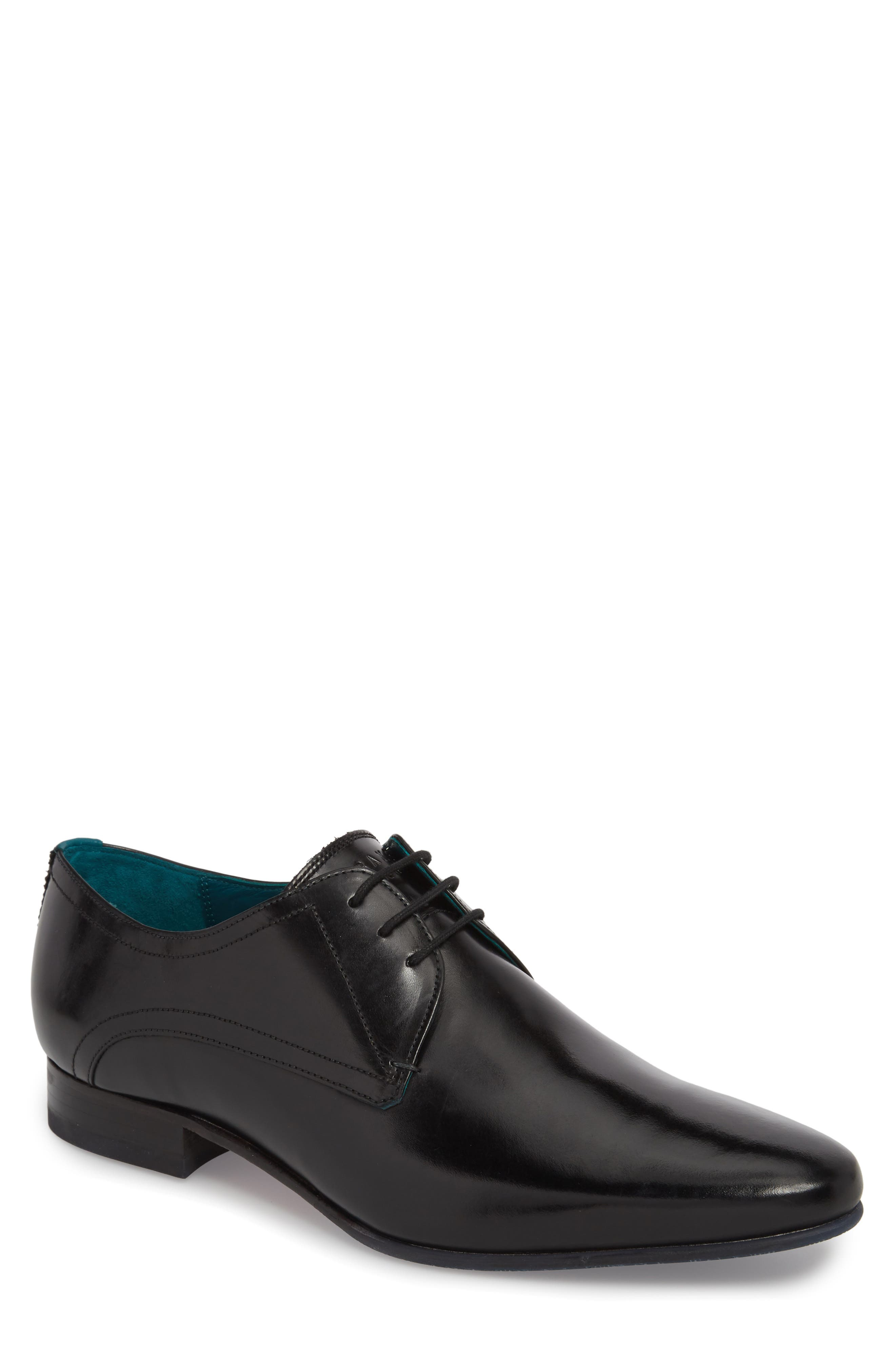 Bhartli Plain Toe Derby,                             Main thumbnail 1, color,                             BLACK LEATHER