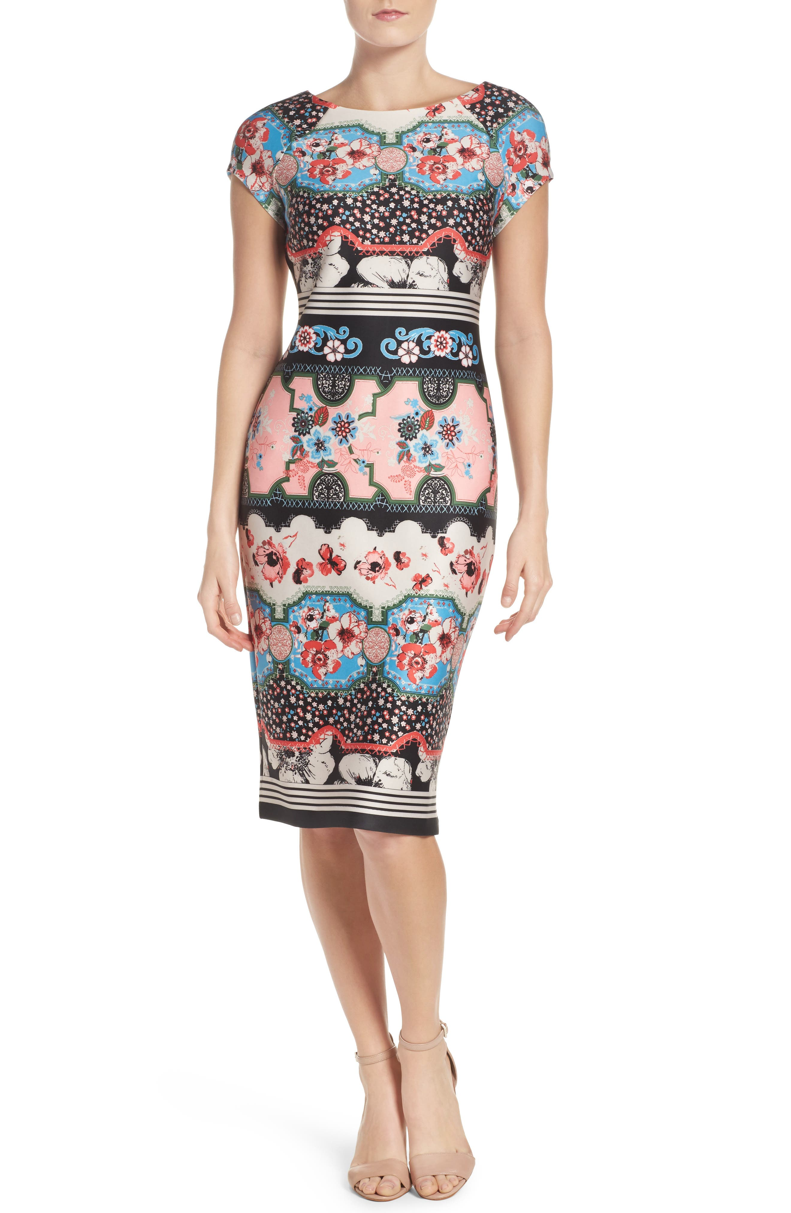 Scuba Sheath Dress,                             Main thumbnail 1, color,                             688
