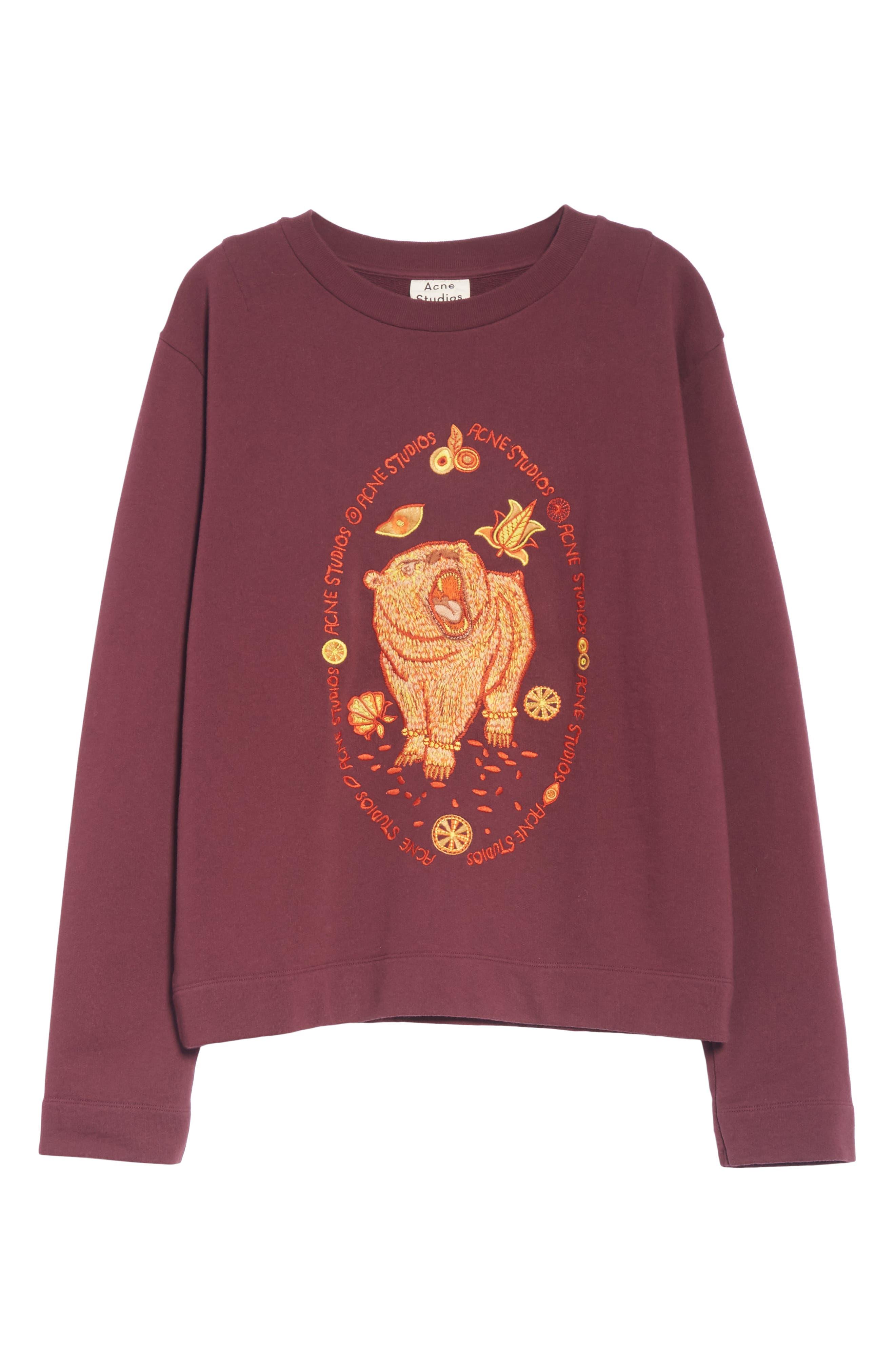 Oslavi Embroidered Bear Sweatshirt,                             Alternate thumbnail 6, color,