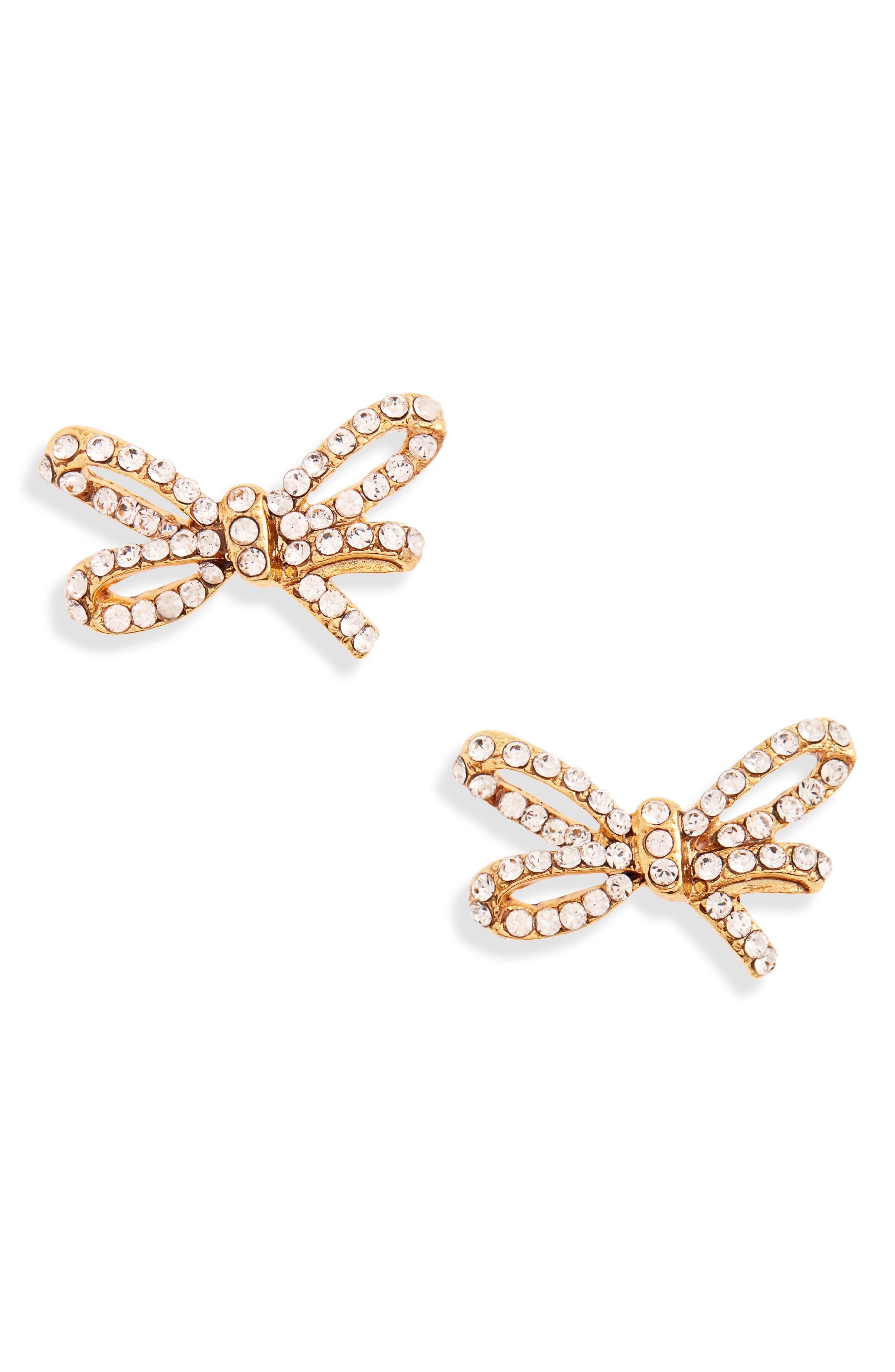 Crystal Mini Bow Earrings,                             Main thumbnail 1, color,                             SILK