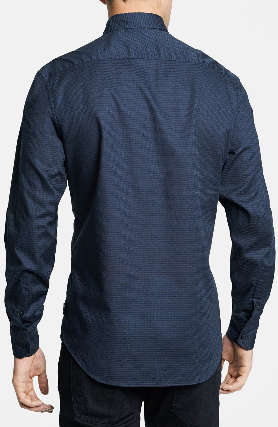 Geometric Textured Sport Shirt,                             Alternate thumbnail 3, color,                             411