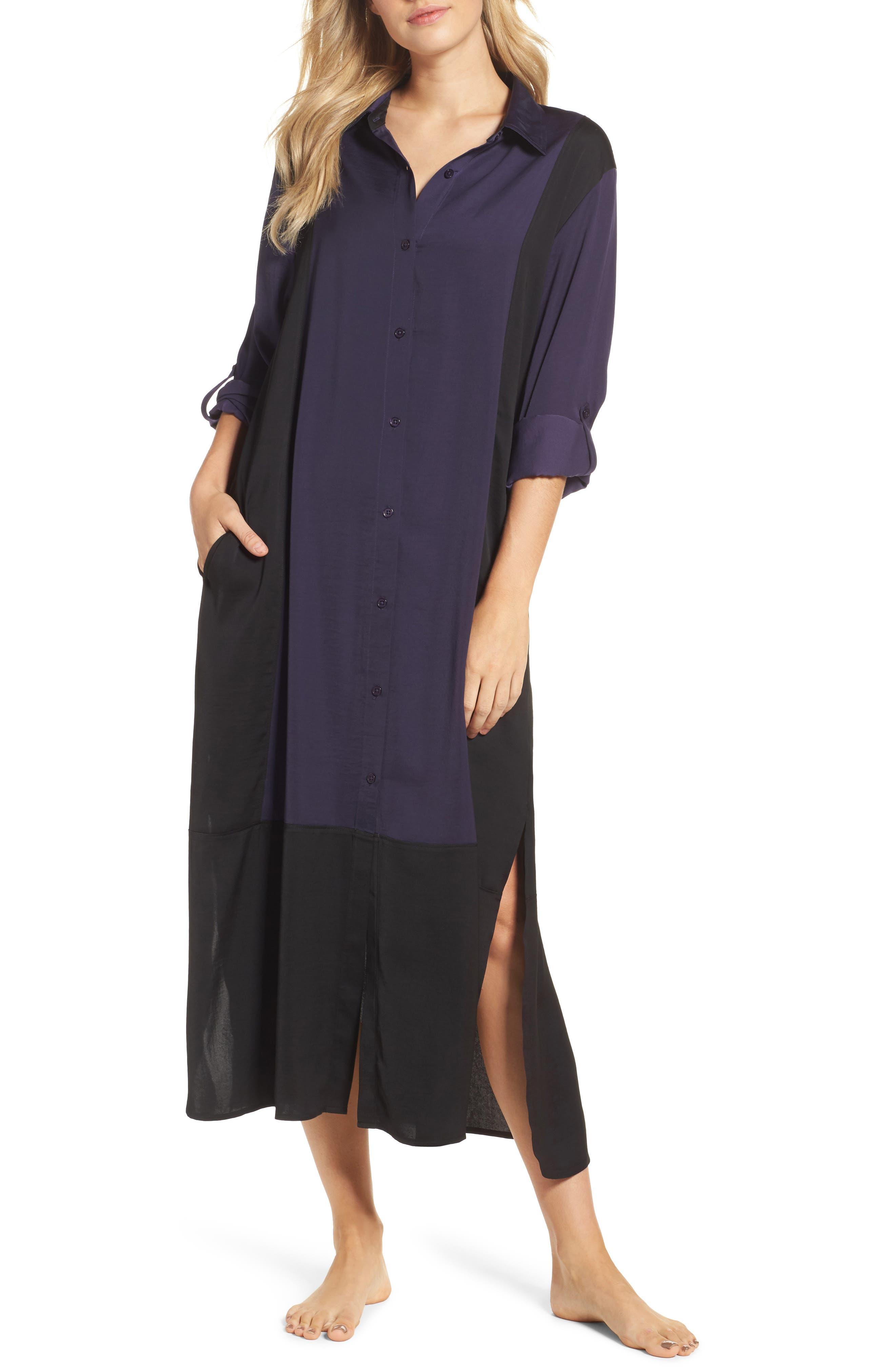 Washed Satin Maxi Sleep Shirt,                             Main thumbnail 2, color,