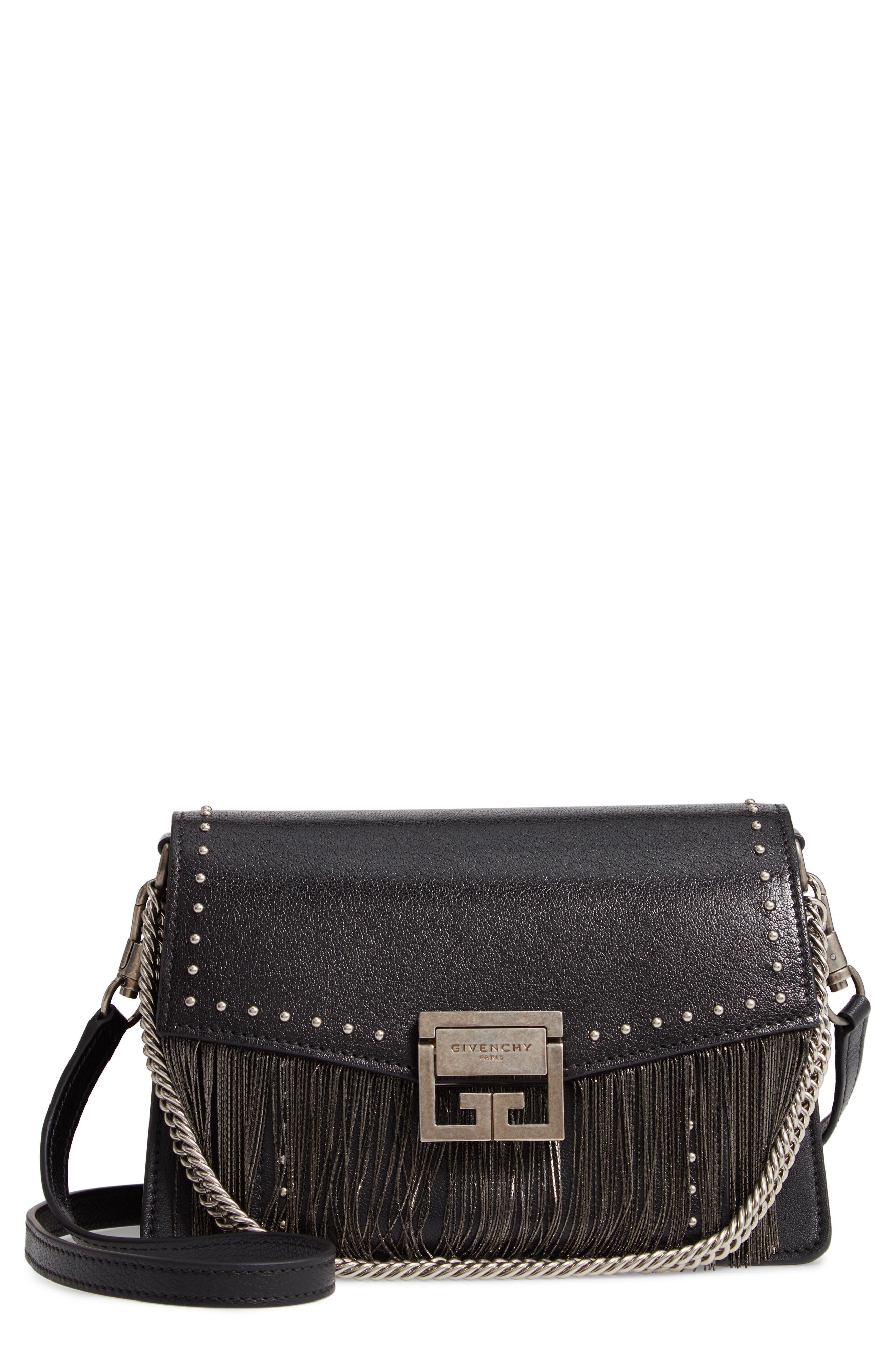62cfb2818c57 Givenchy Small Gv3 Chain Fringe Leather Crossbody Bag - Black