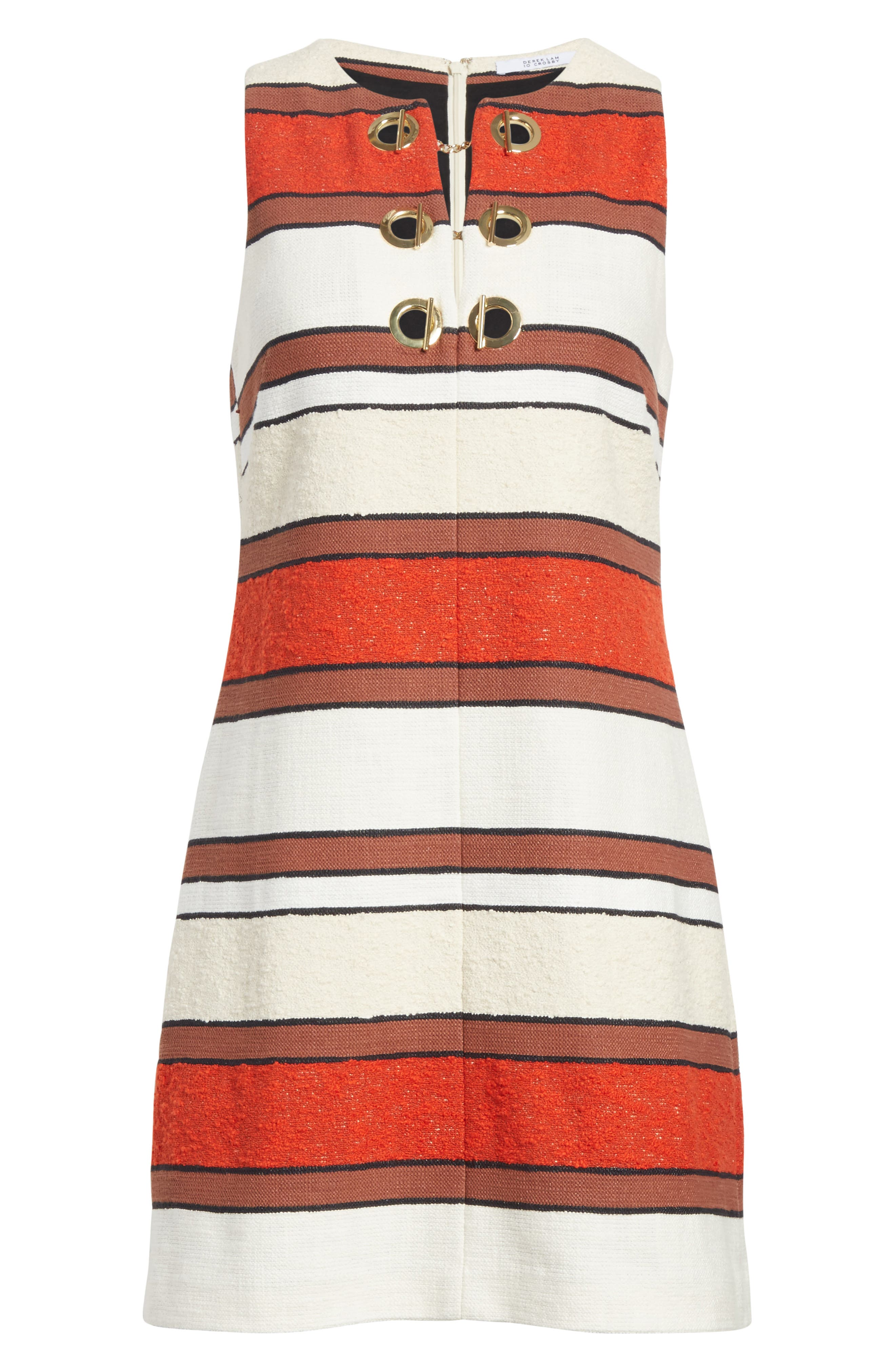 Grommet Detail Stripe Shift Dress,                             Alternate thumbnail 6, color,                             621