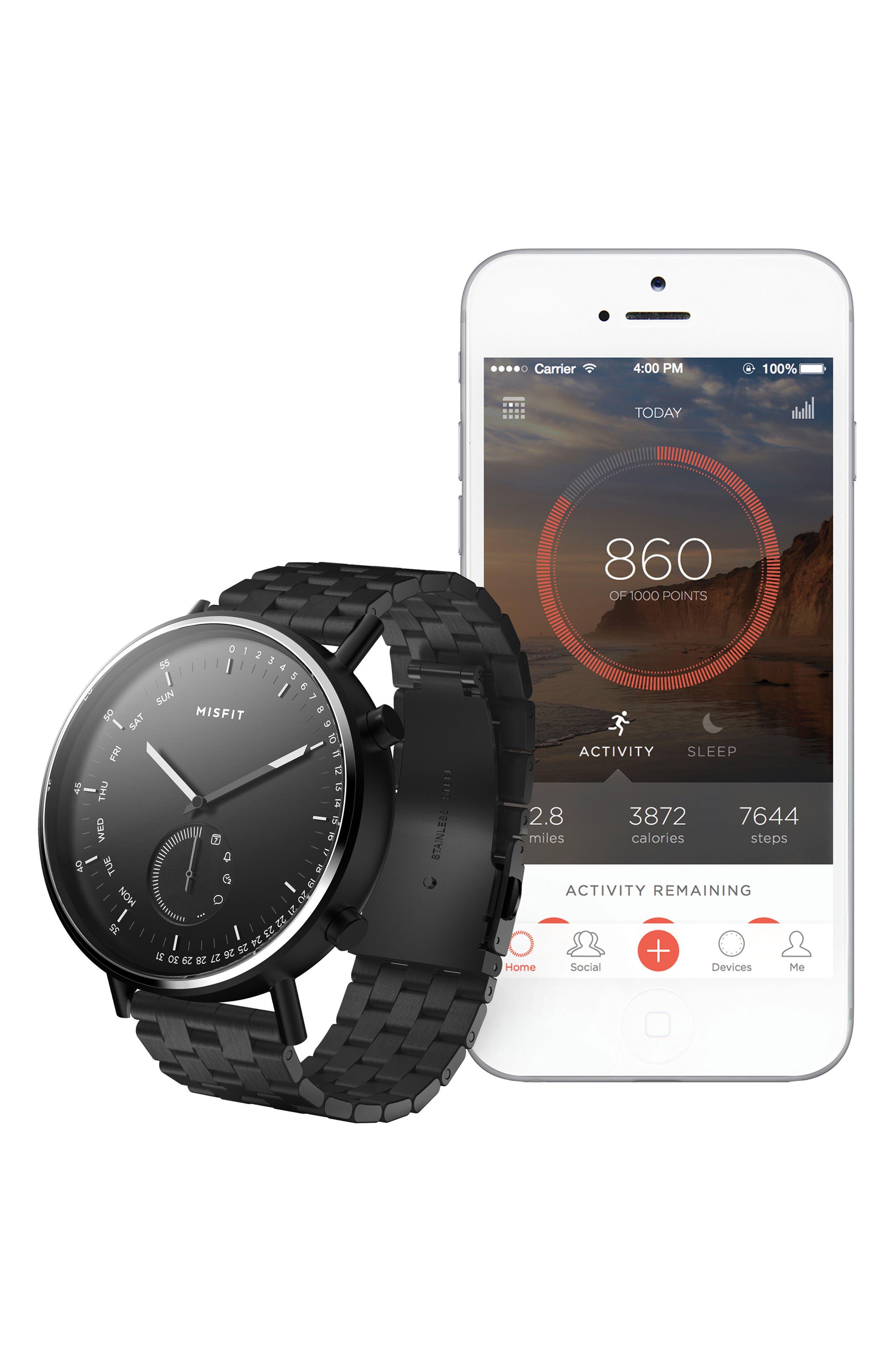 Command Hybrid Bracelet Smart Watch, 44mm,                             Alternate thumbnail 4, color,                             BLACK