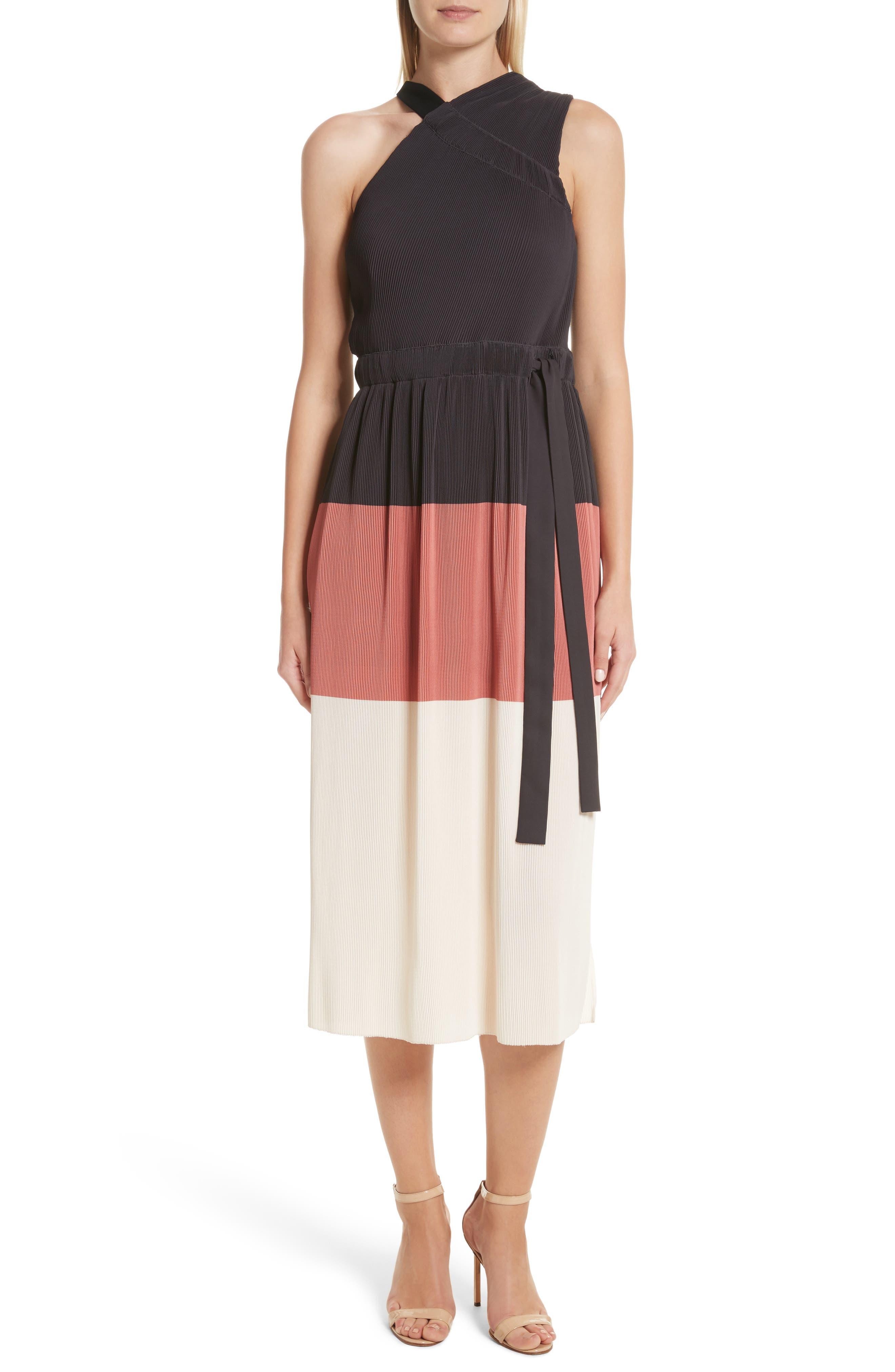 Colorblock Pleated Dress,                             Main thumbnail 1, color,                             007