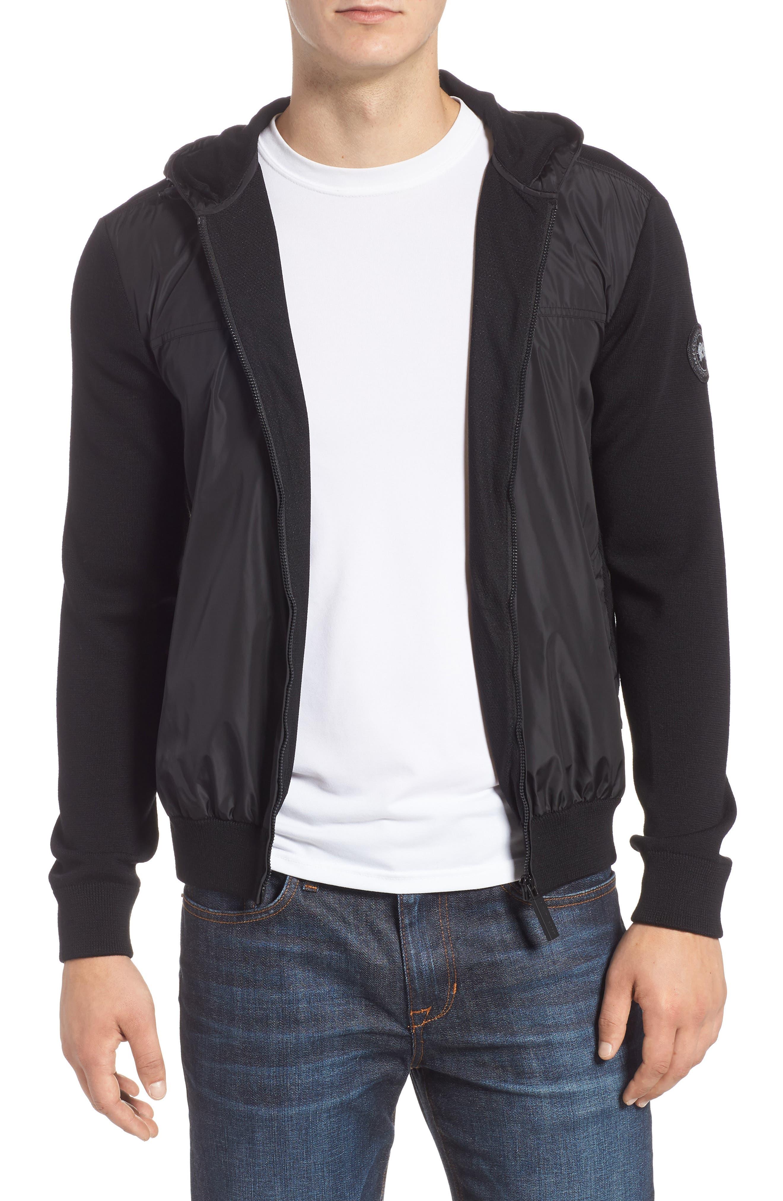 Windbridge Regular Fit Hooded Sweater Jacket,                             Main thumbnail 1, color,                             BLACK