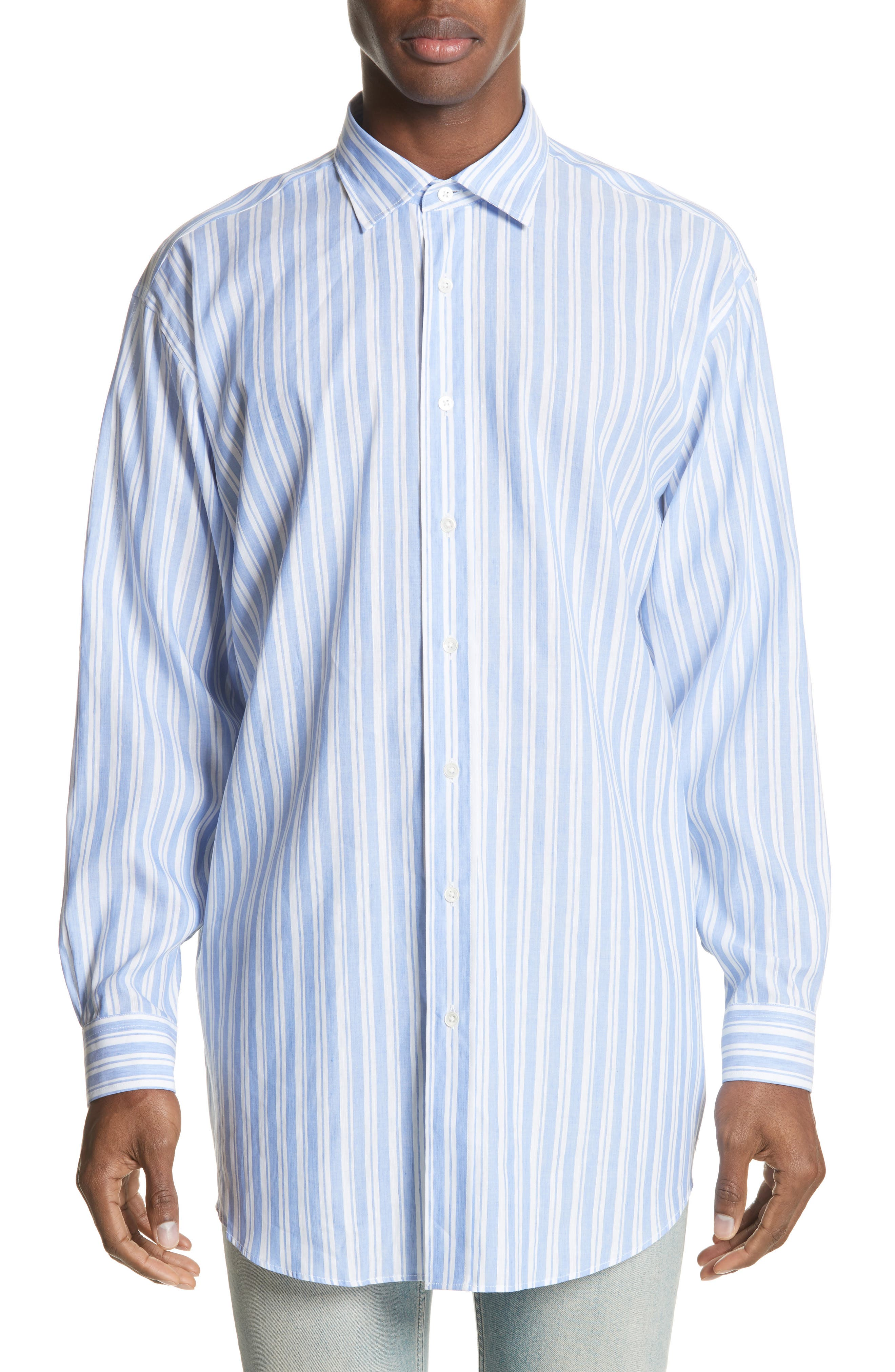 Oversized Stripe Chambray Shirt,                             Main thumbnail 1, color,                             460