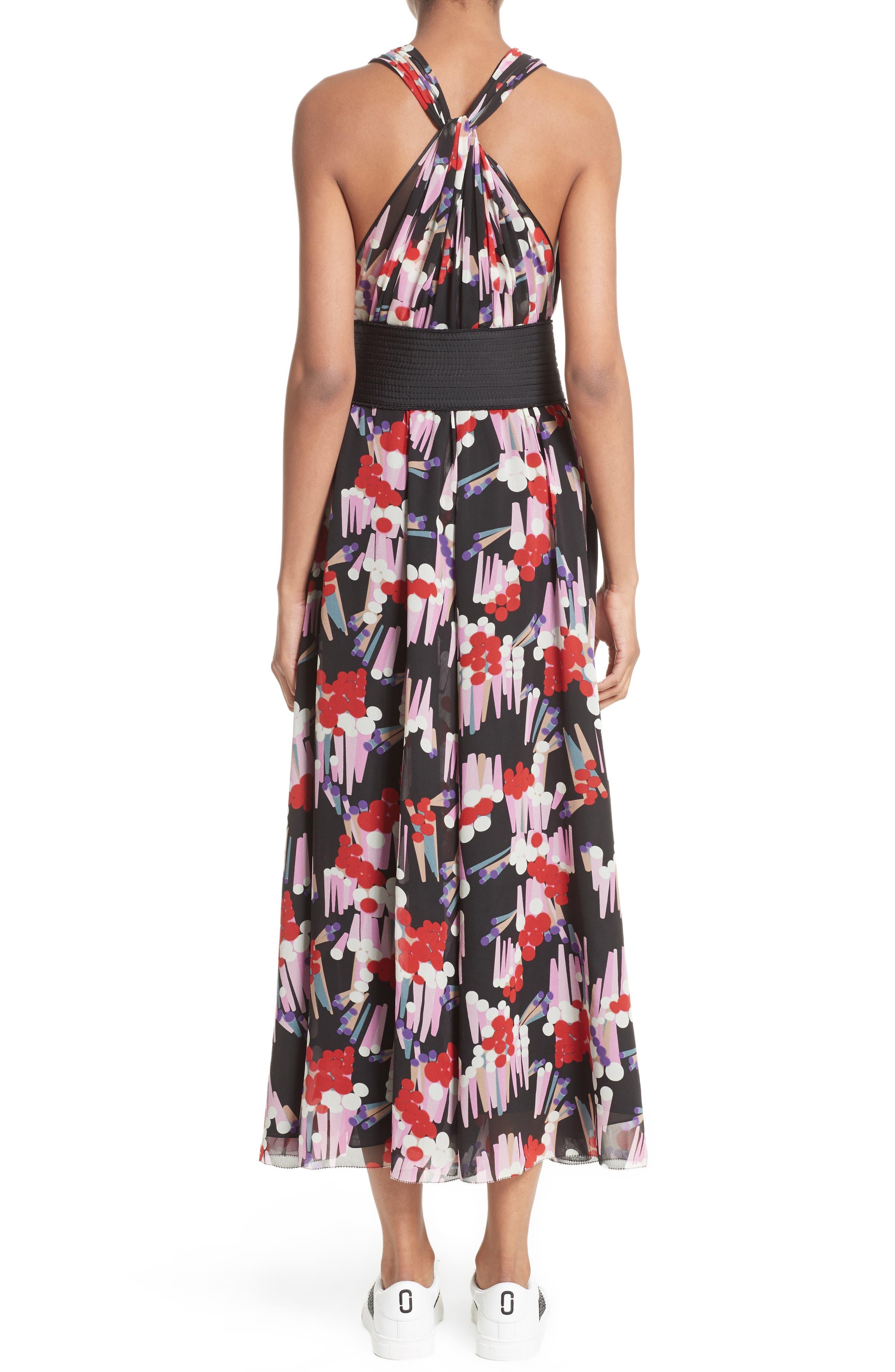 Print Silk Midi Dress,                             Alternate thumbnail 2, color,                             002