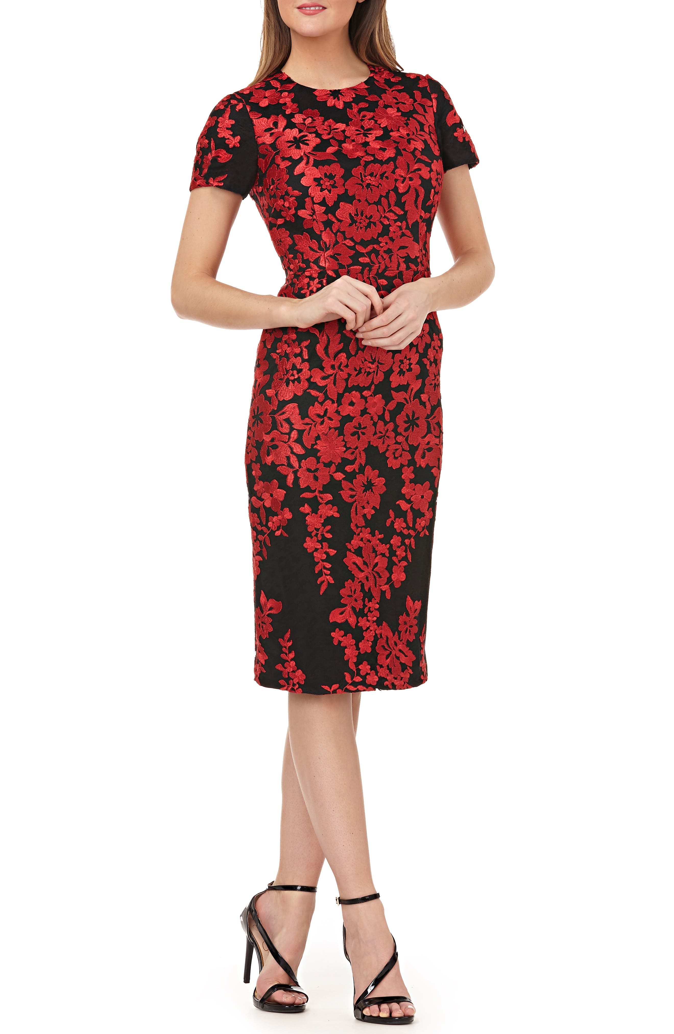 Carmen Marc Valvo Infusion Embroidered Mesh Sheath Dress, Red