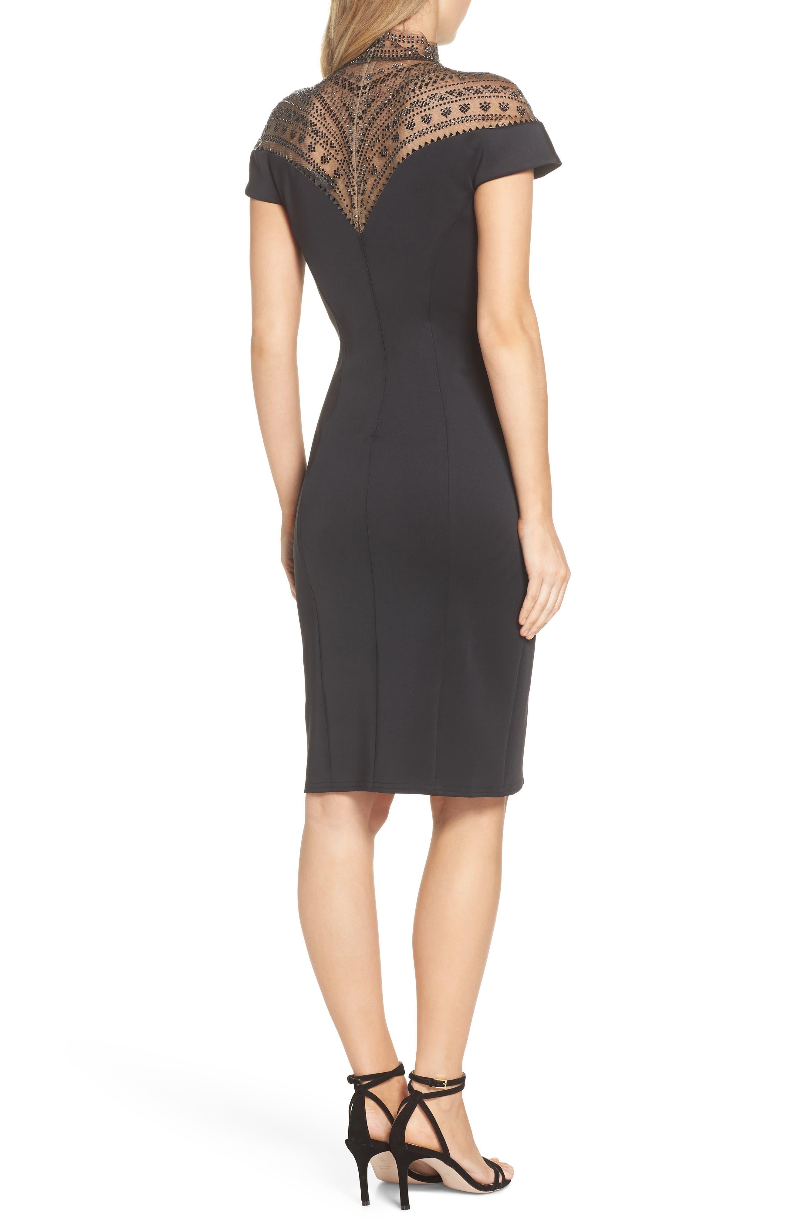 Embellished Illusion Body-Con Dress,                             Alternate thumbnail 2, color,                             BLACK