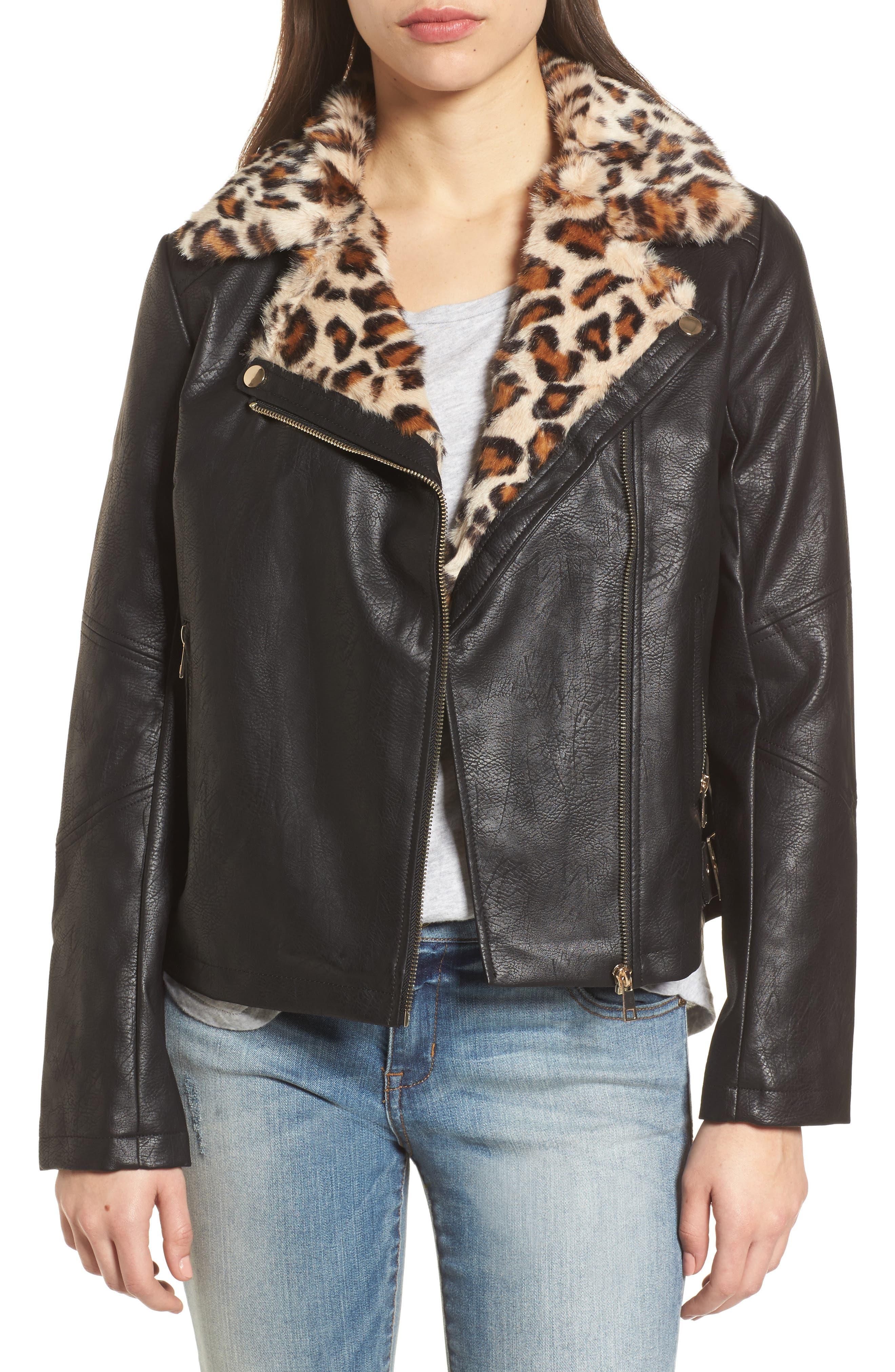 Faux Leather Biker Jacket with Faux Fur Trim,                         Main,                         color, 001