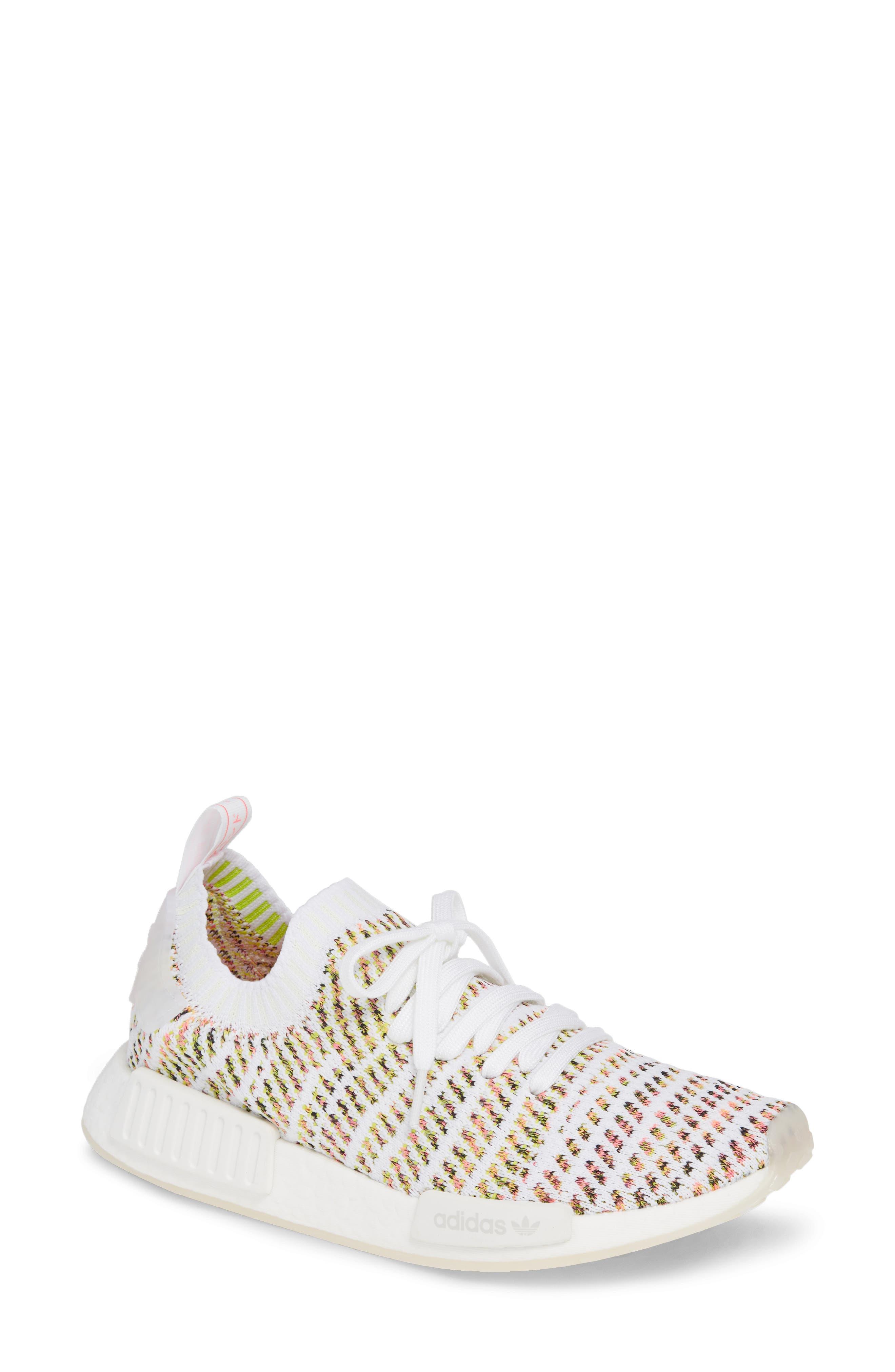 NMD R1 STLT Primeknit Sneaker,                         Main,                         color, WHITE/ YELLOW/ SOLAR PINK