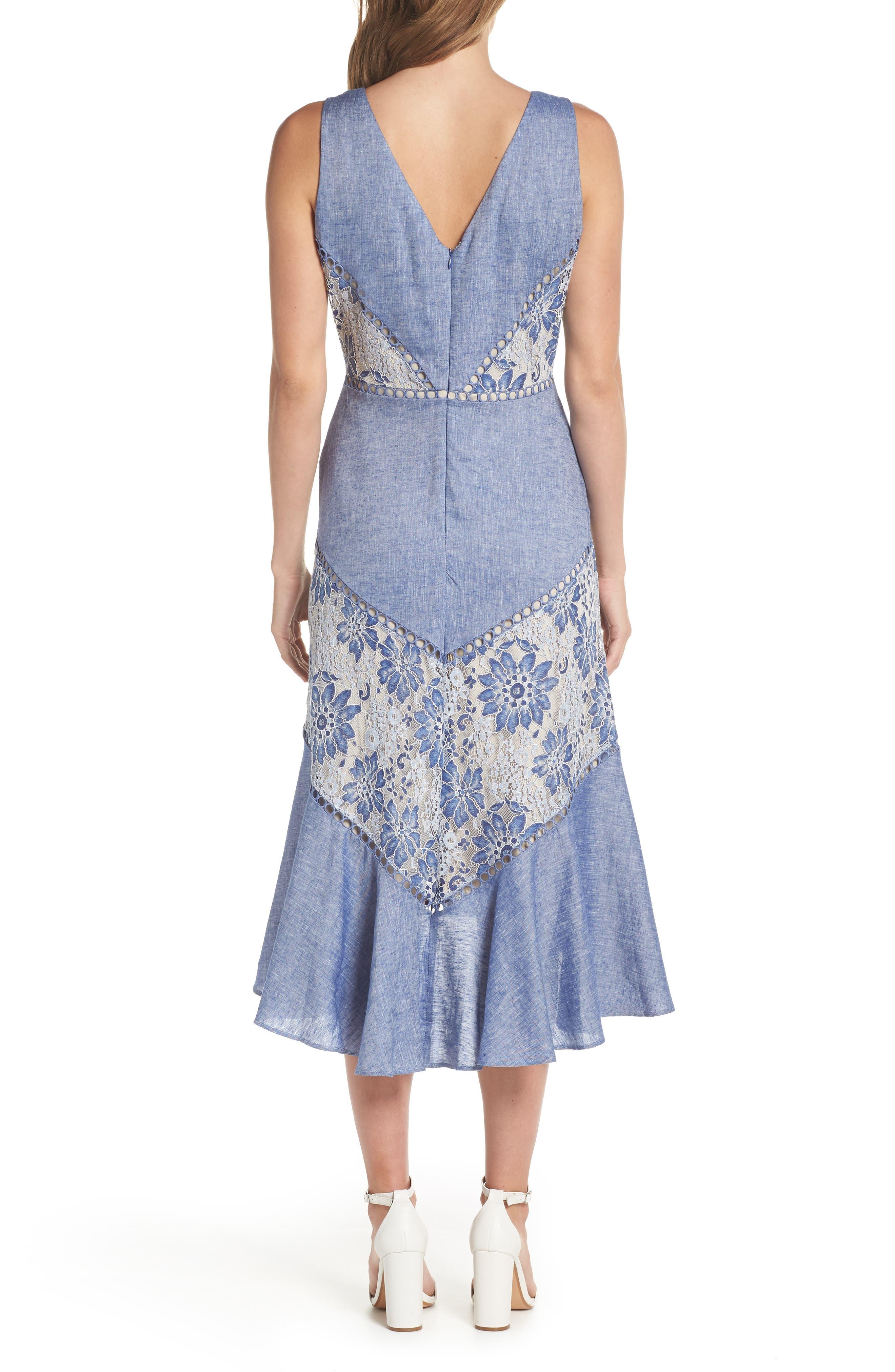 Chambray & Lace Midi Dress,                             Alternate thumbnail 2, color,                             411
