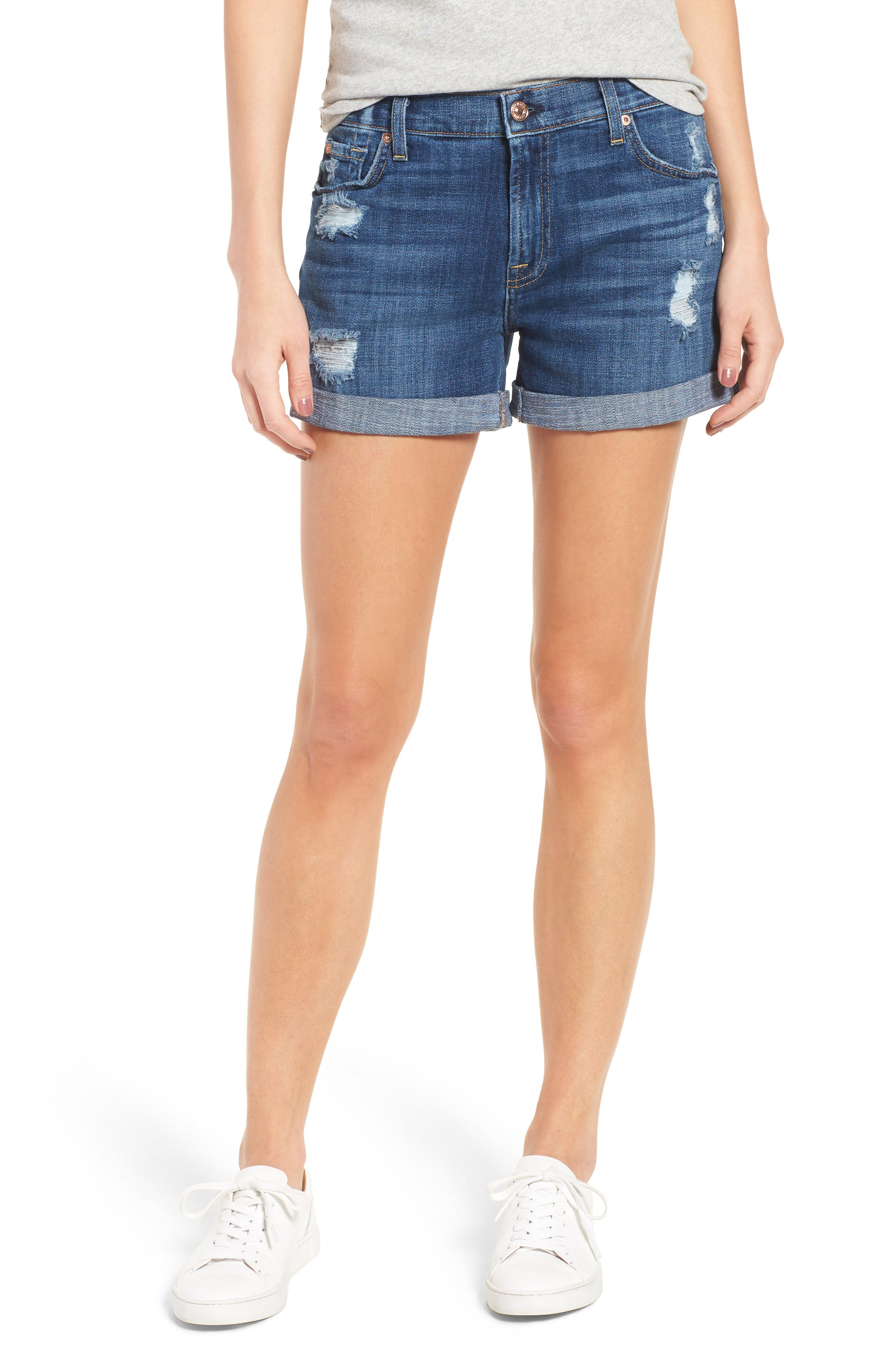 Relaxed Cuffed Denim Shorts,                         Main,                         color, 400