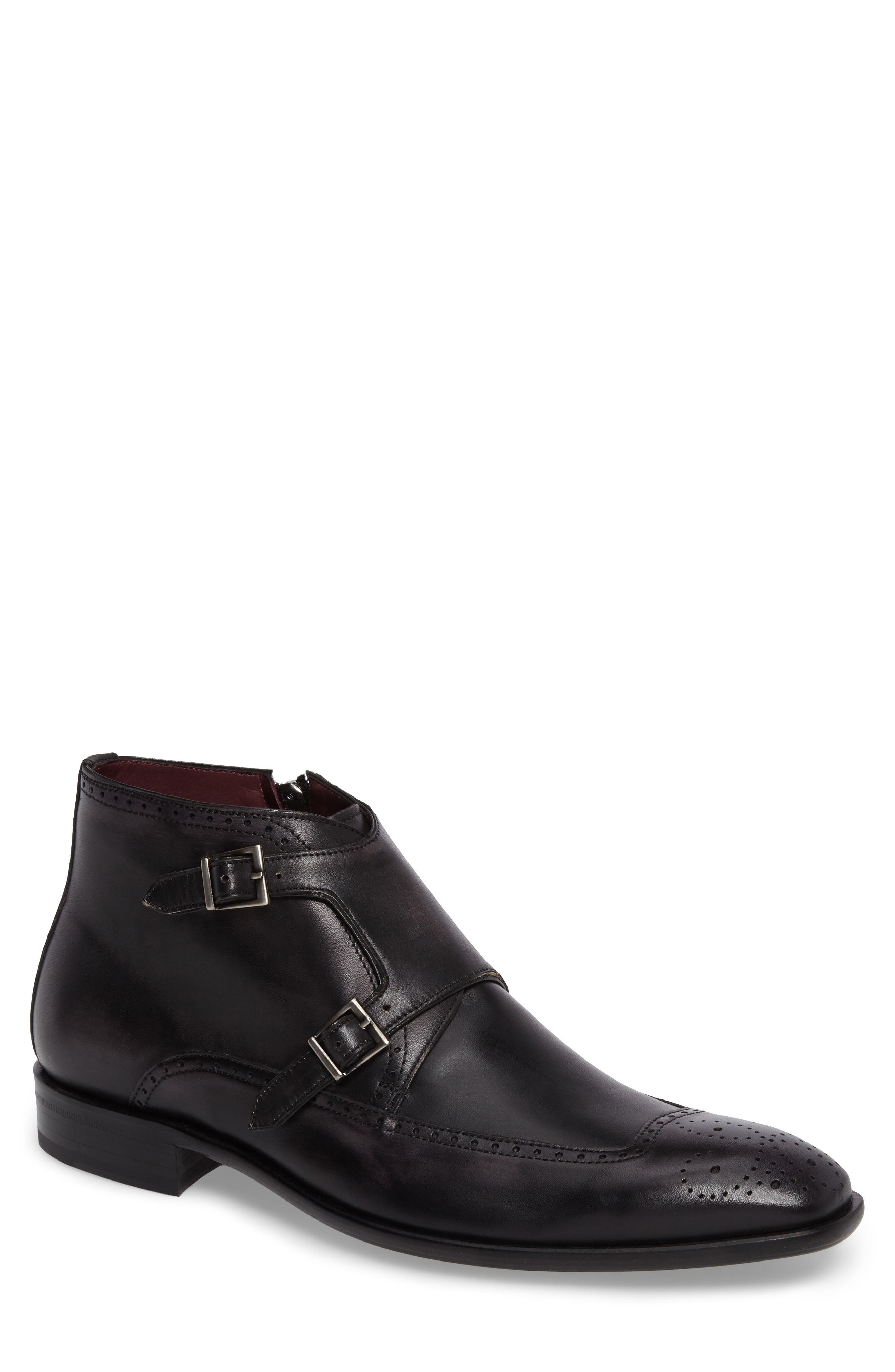 MEZLAN Taberna Double Monk Strap Boot in Graphite Leather