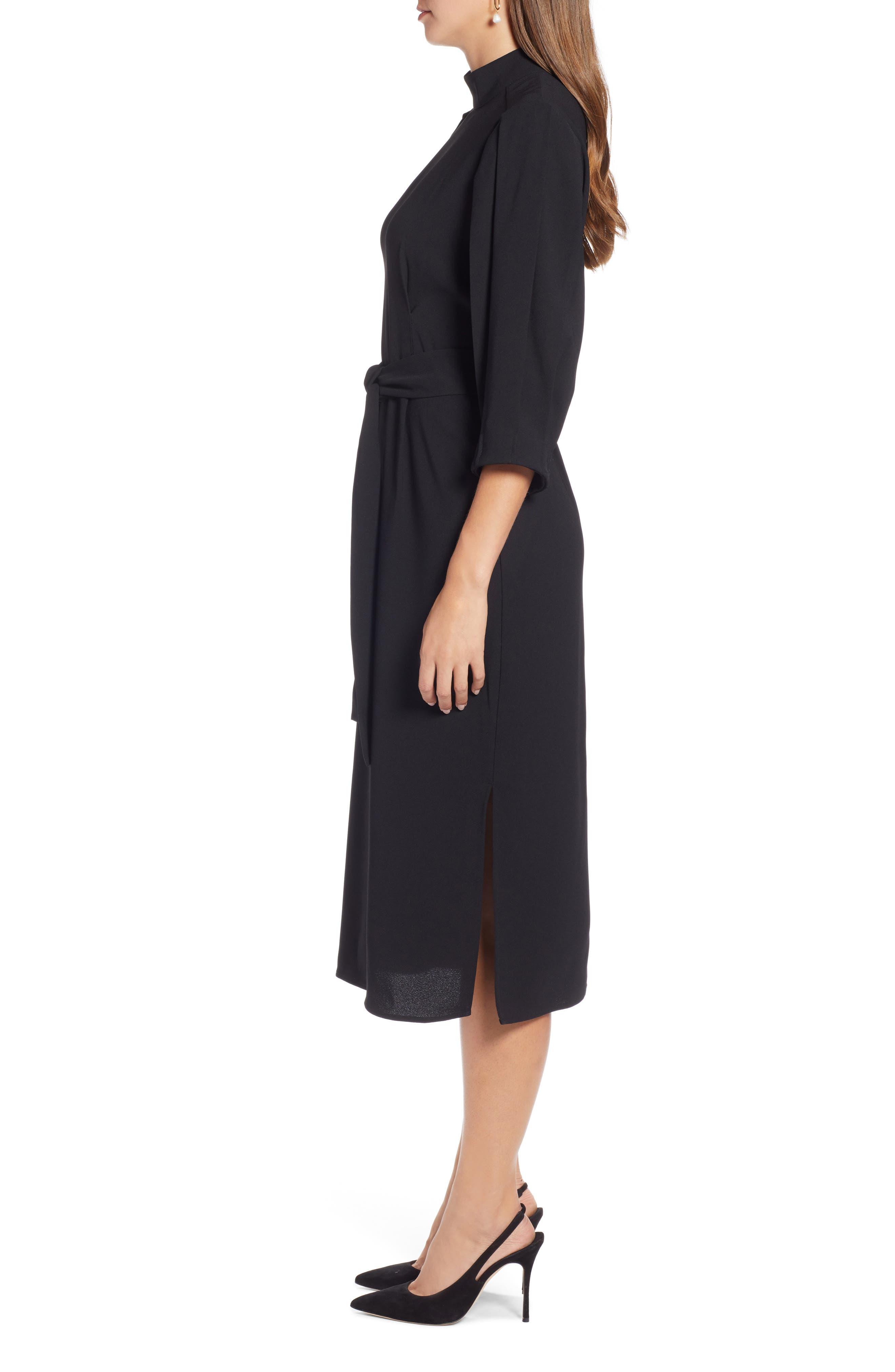 HALOGEN<SUP>®</SUP>,                             Tie Waist Dress,                             Alternate thumbnail 4, color,                             001