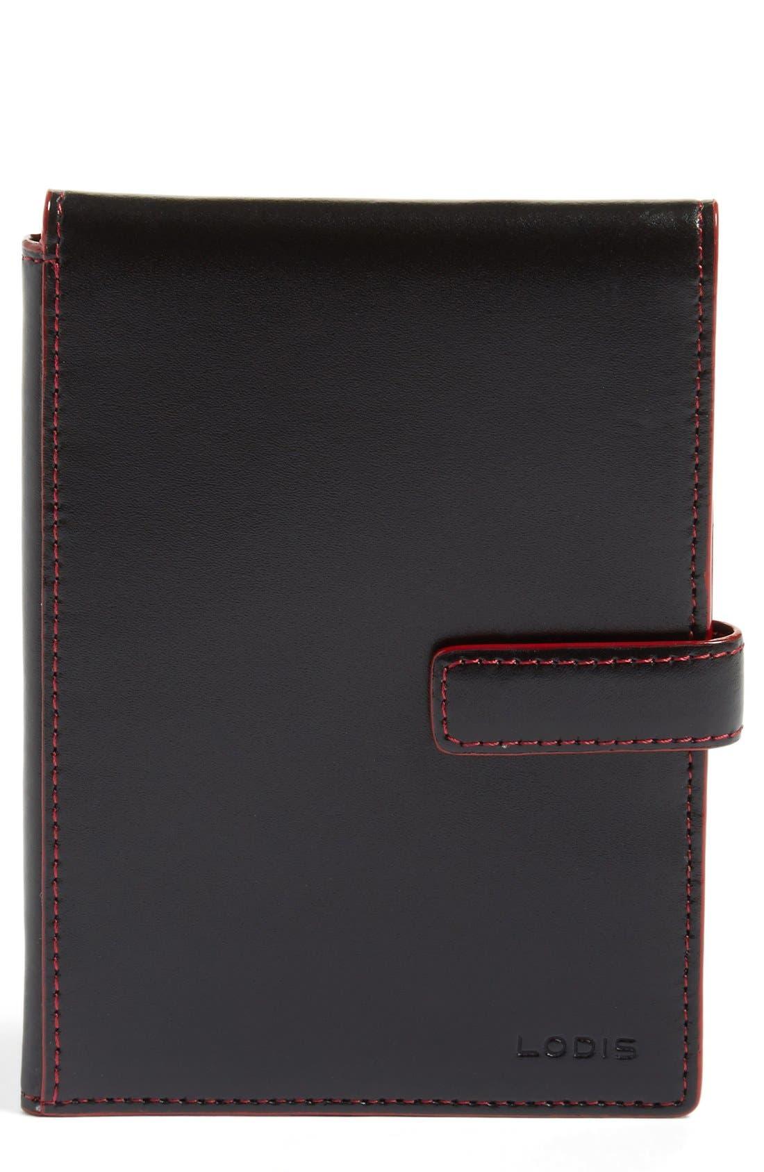 Audrey RFID Leather Passport Wallet,                             Main thumbnail 1, color,                             BLACK