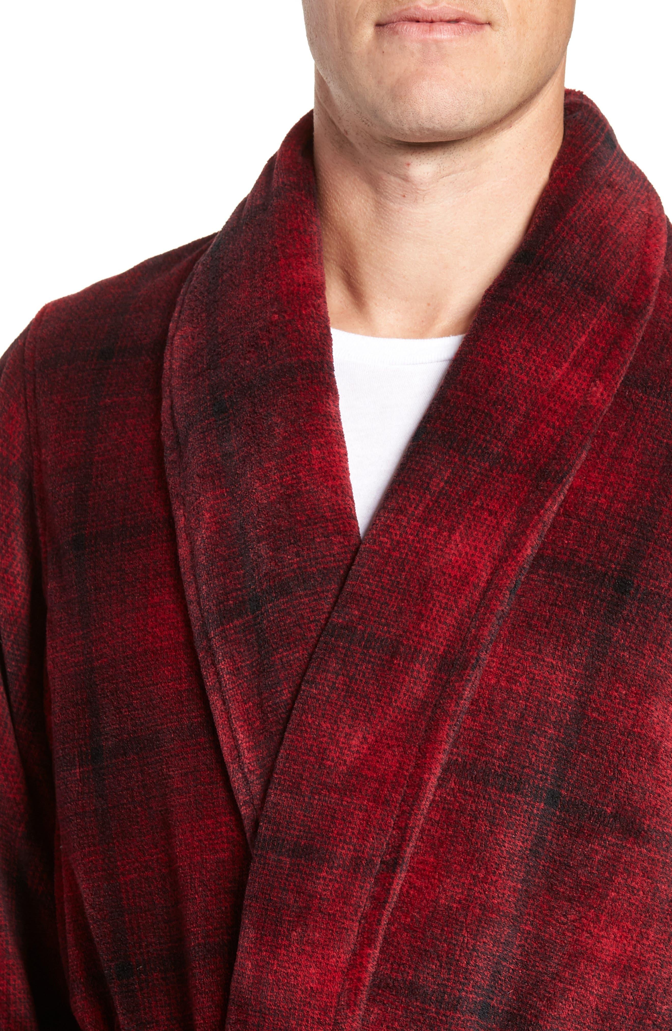Ombré Plaid Fleece Robe,                             Alternate thumbnail 4, color,                             RED JESTER- BLACK OMBRE PLAID