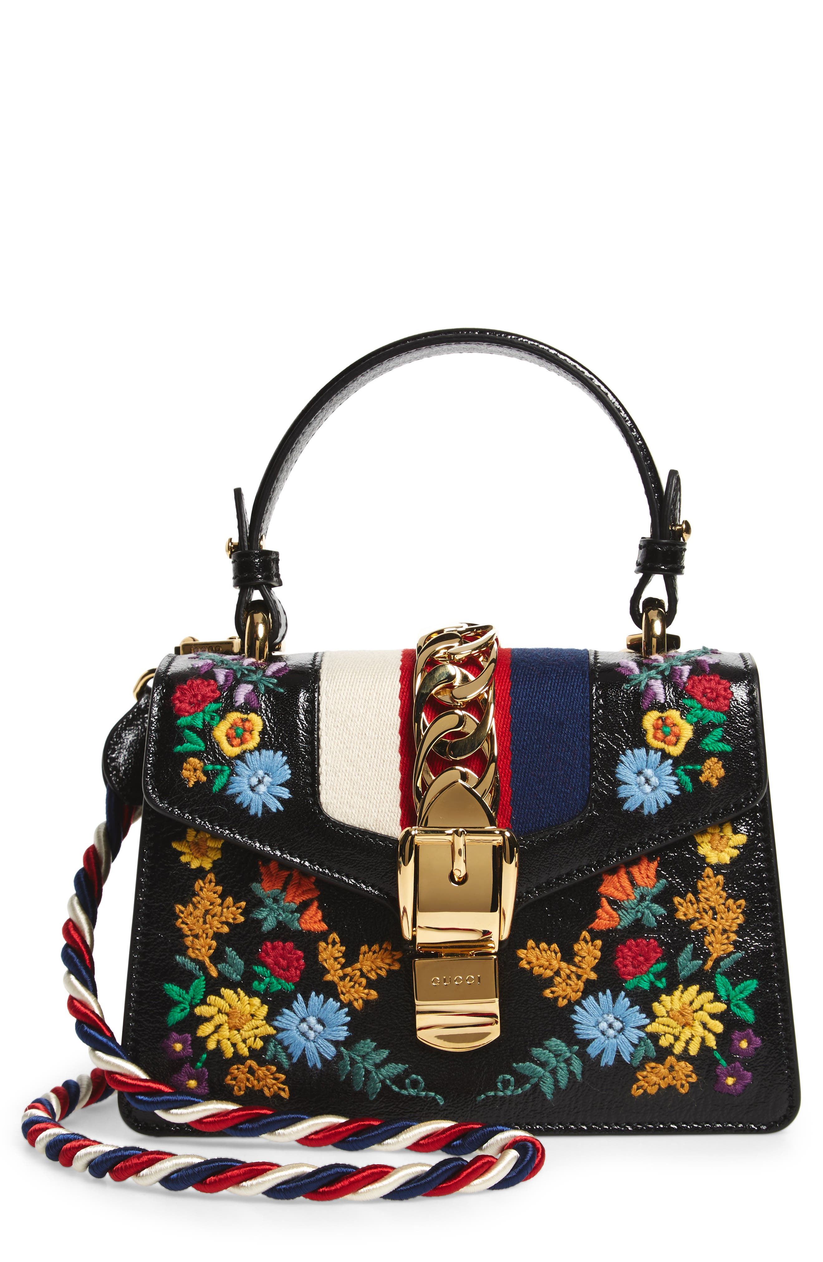 Mini Sylvie Flower Embroidery Leather Shoulder Bag,                             Main thumbnail 1, color,                             NERO MULTI
