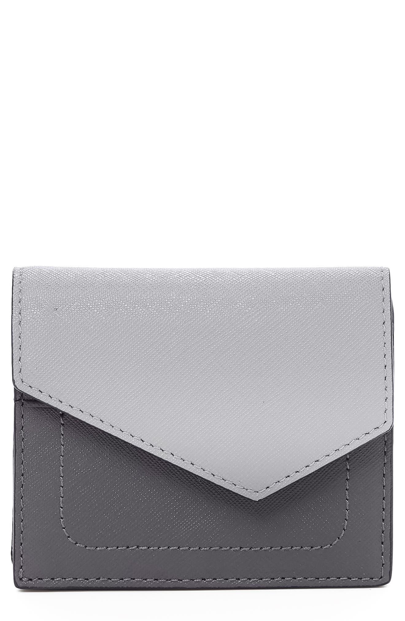 BOTKIER,                             Mini Cobble Hill Colorblock Leather Wallet,                             Main thumbnail 1, color,                             PEWTER COMBO