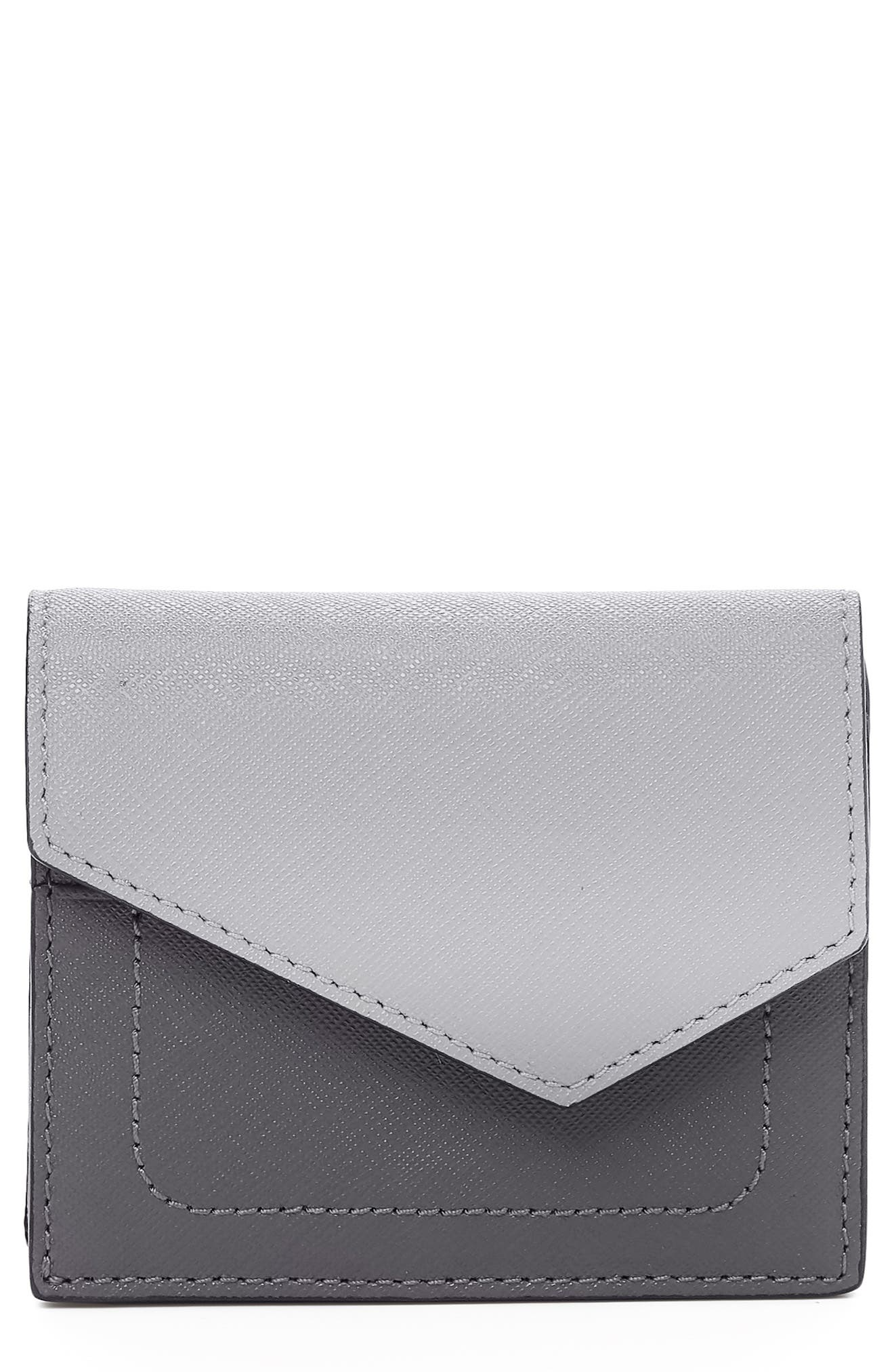 BOTKIER Mini Cobble Hill Colorblock Leather Wallet, Main, color, PEWTER COMBO