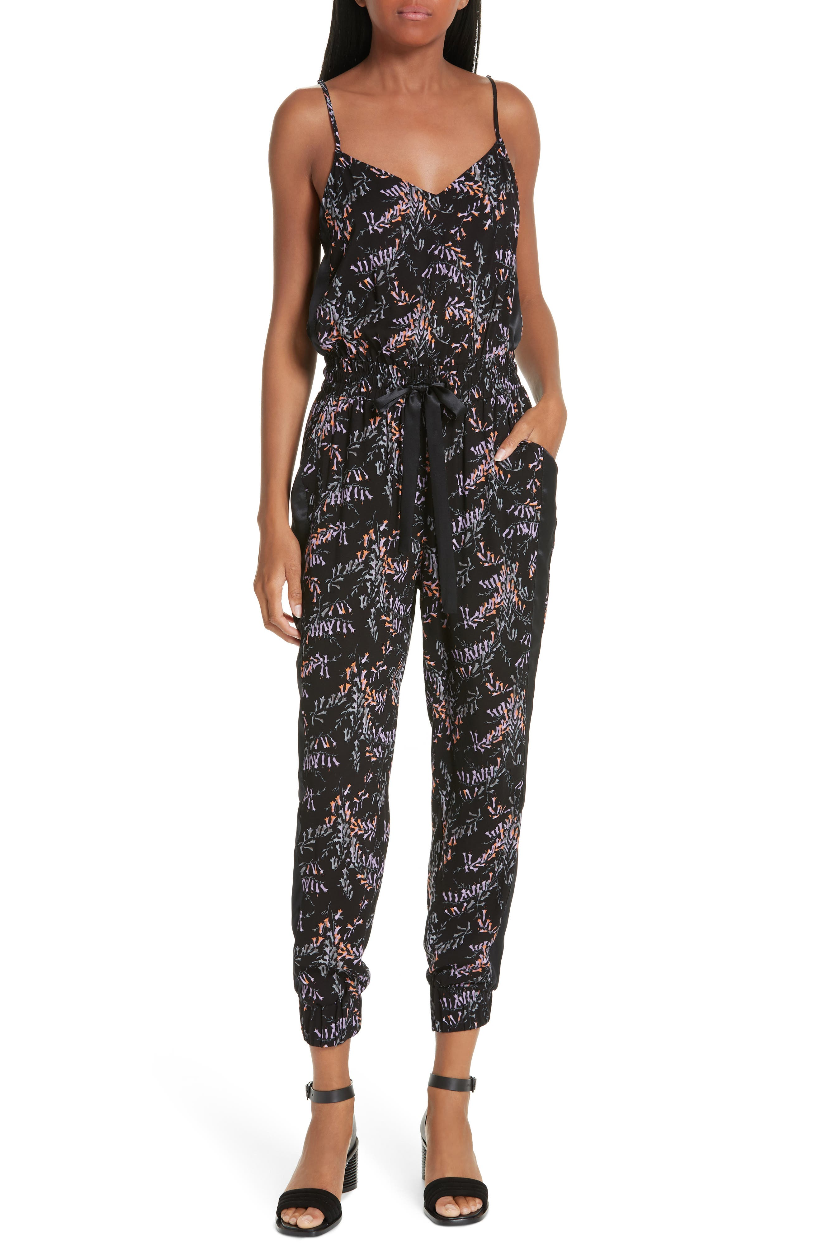 CINQ À SEPT,                             Amia Snapdragon Print Silk Jumpsuit,                             Main thumbnail 1, color,                             BLACK MULTI