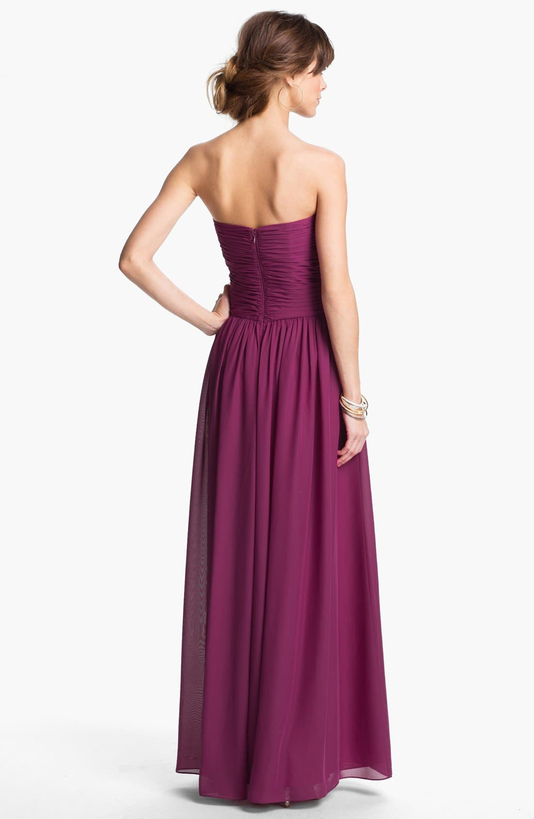 Strapless Ruched Chiffon Gown,                             Alternate thumbnail 15, color,