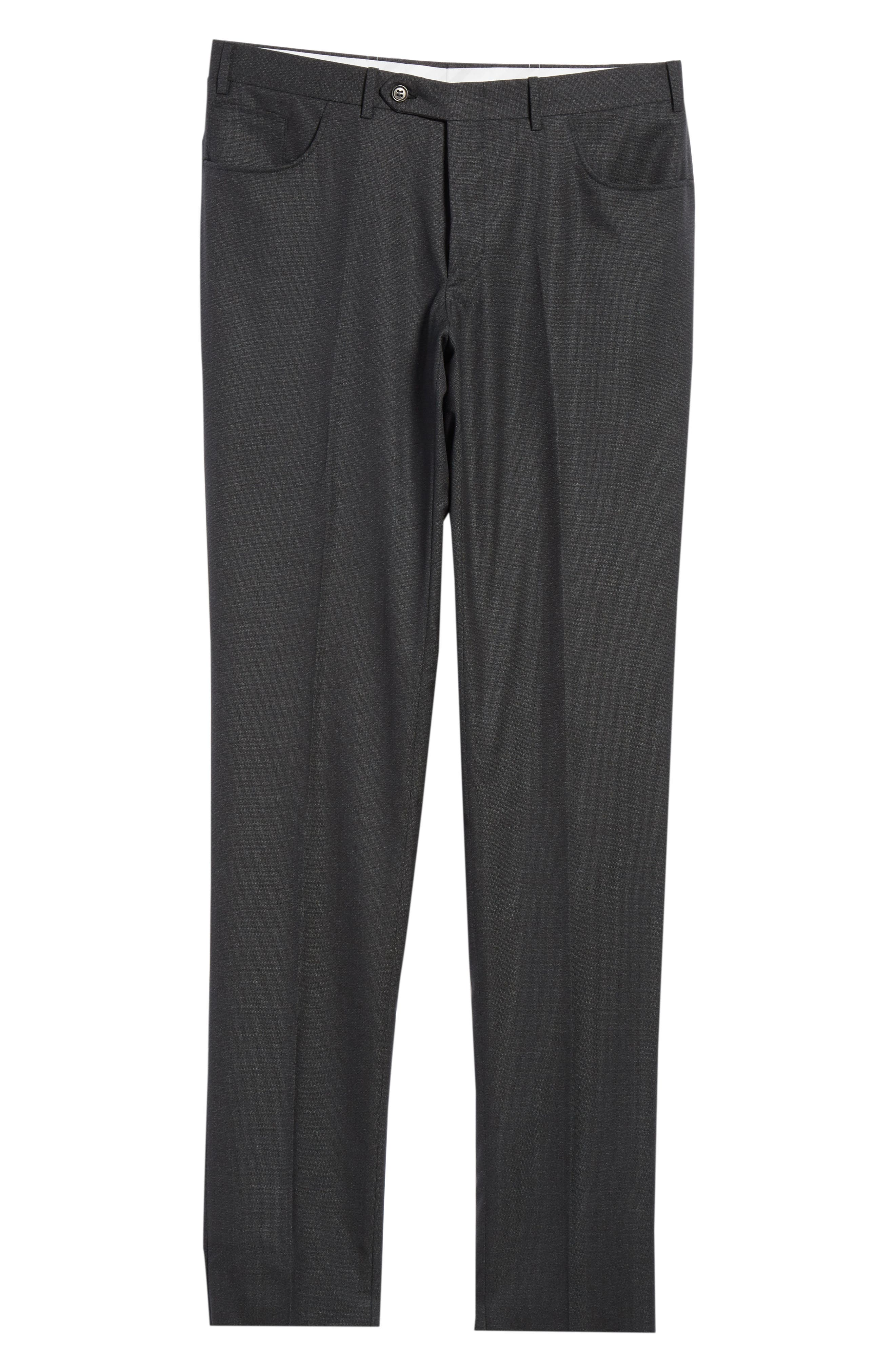 Flat Front Solid Wool Trousers,                             Alternate thumbnail 6, color,                             DARK GREEN