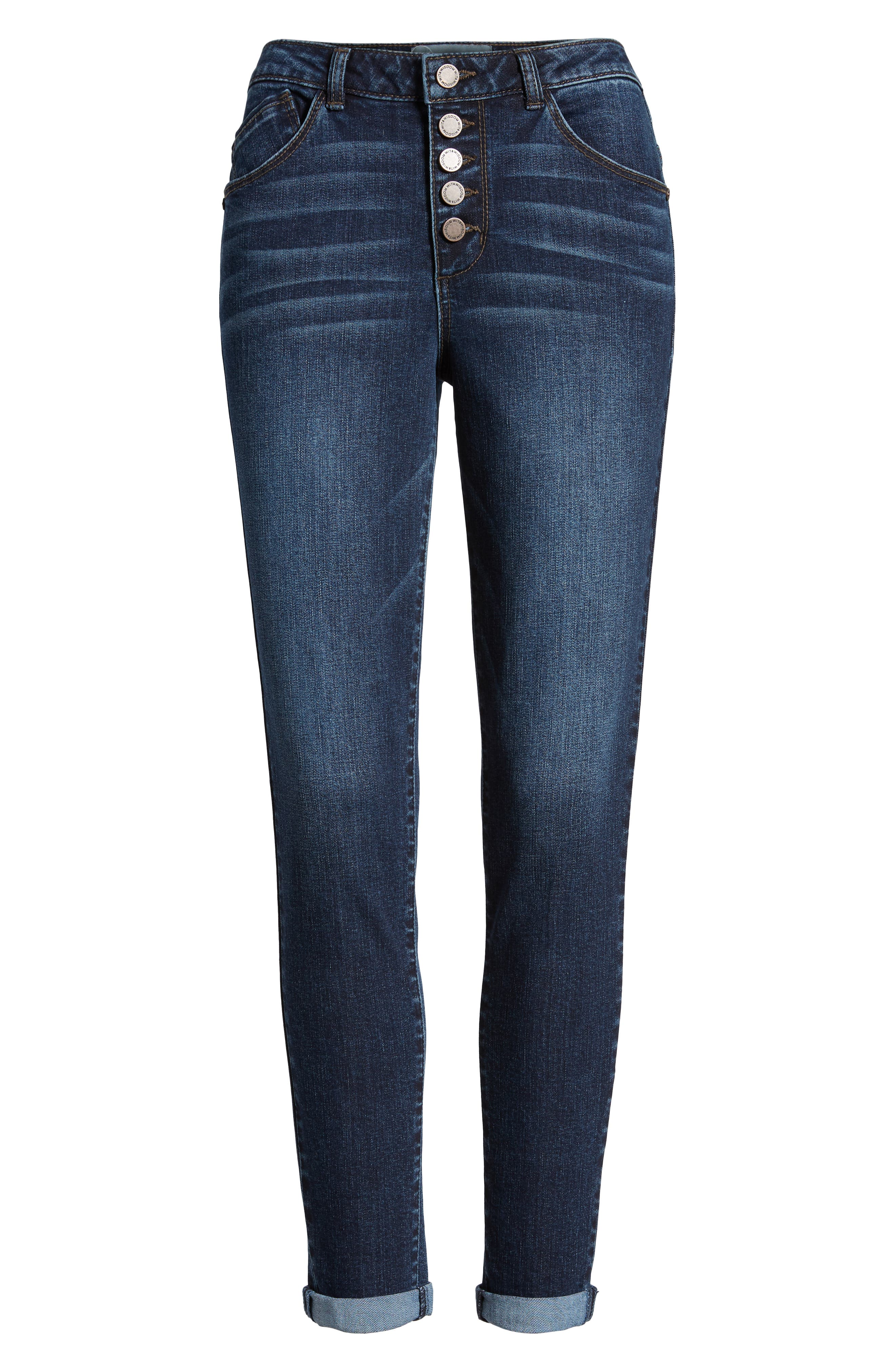 High Waist Button Fly Skinny Ankle Jeans,                             Alternate thumbnail 7, color,                             420