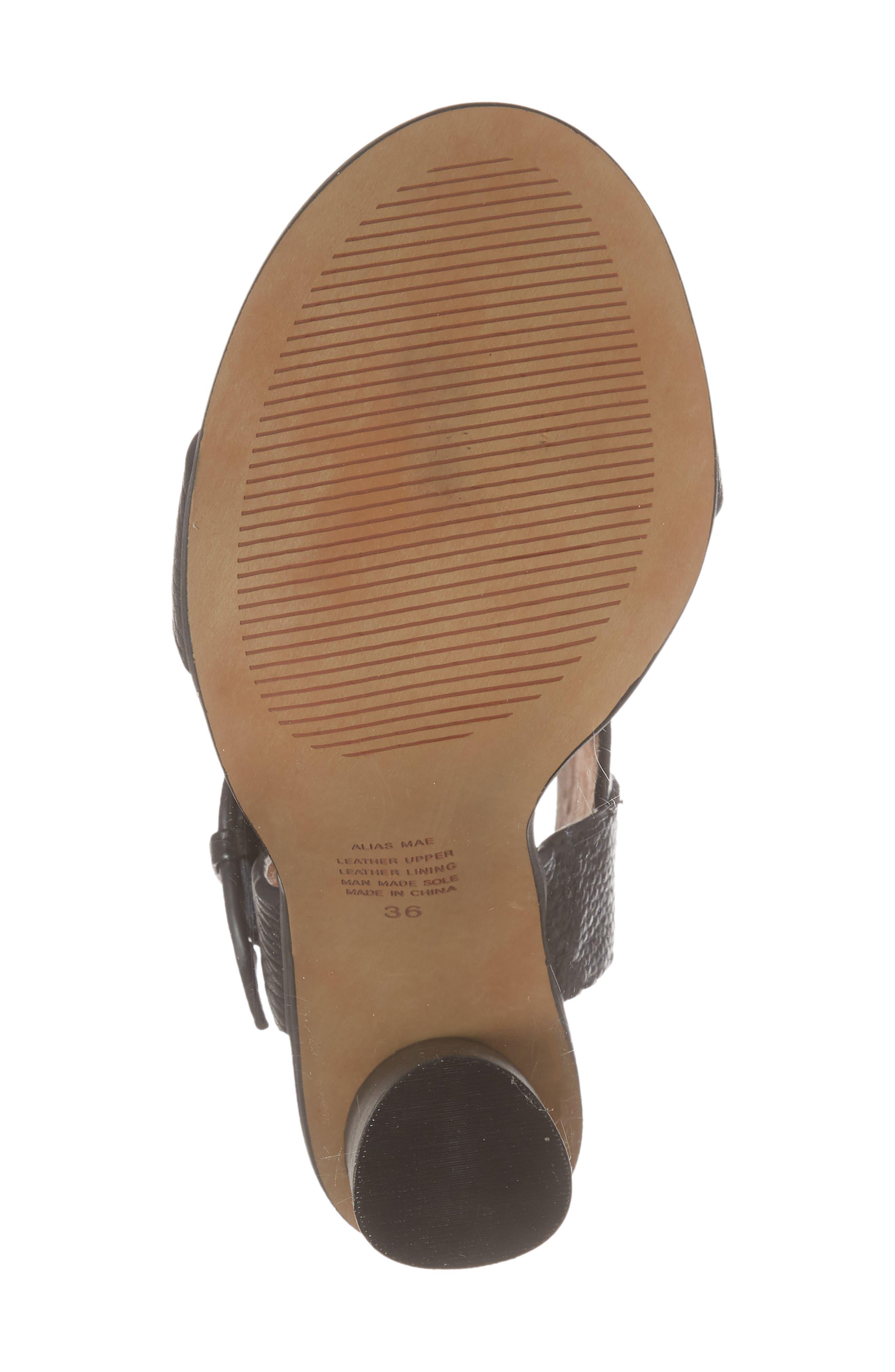 Abeba Block Heel Sandal,                             Alternate thumbnail 6, color,                             BLACK LEATHER