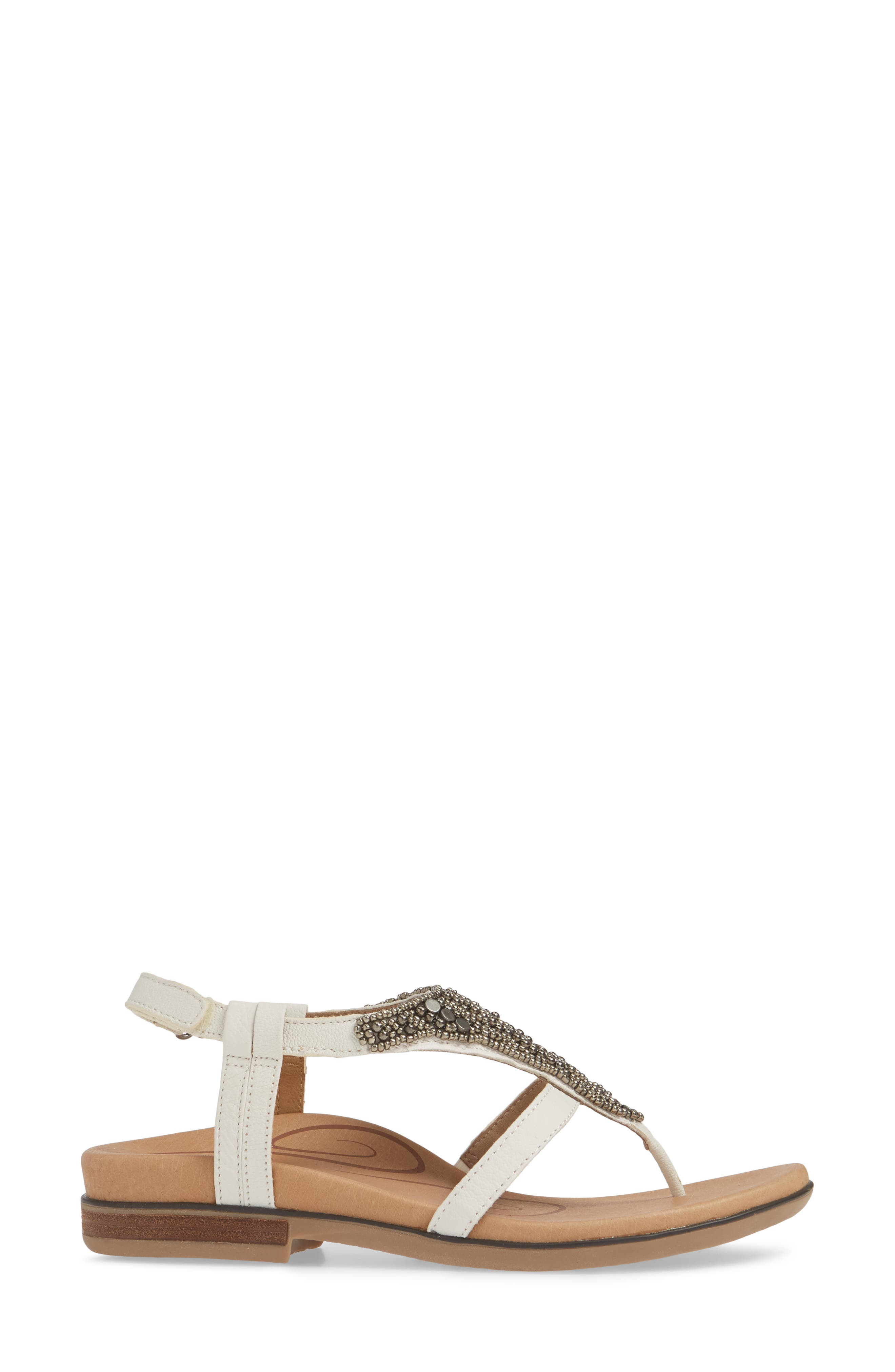 AETREX,                             Sheila Embellished Sandal,                             Alternate thumbnail 3, color,                             WHITE LEATHER