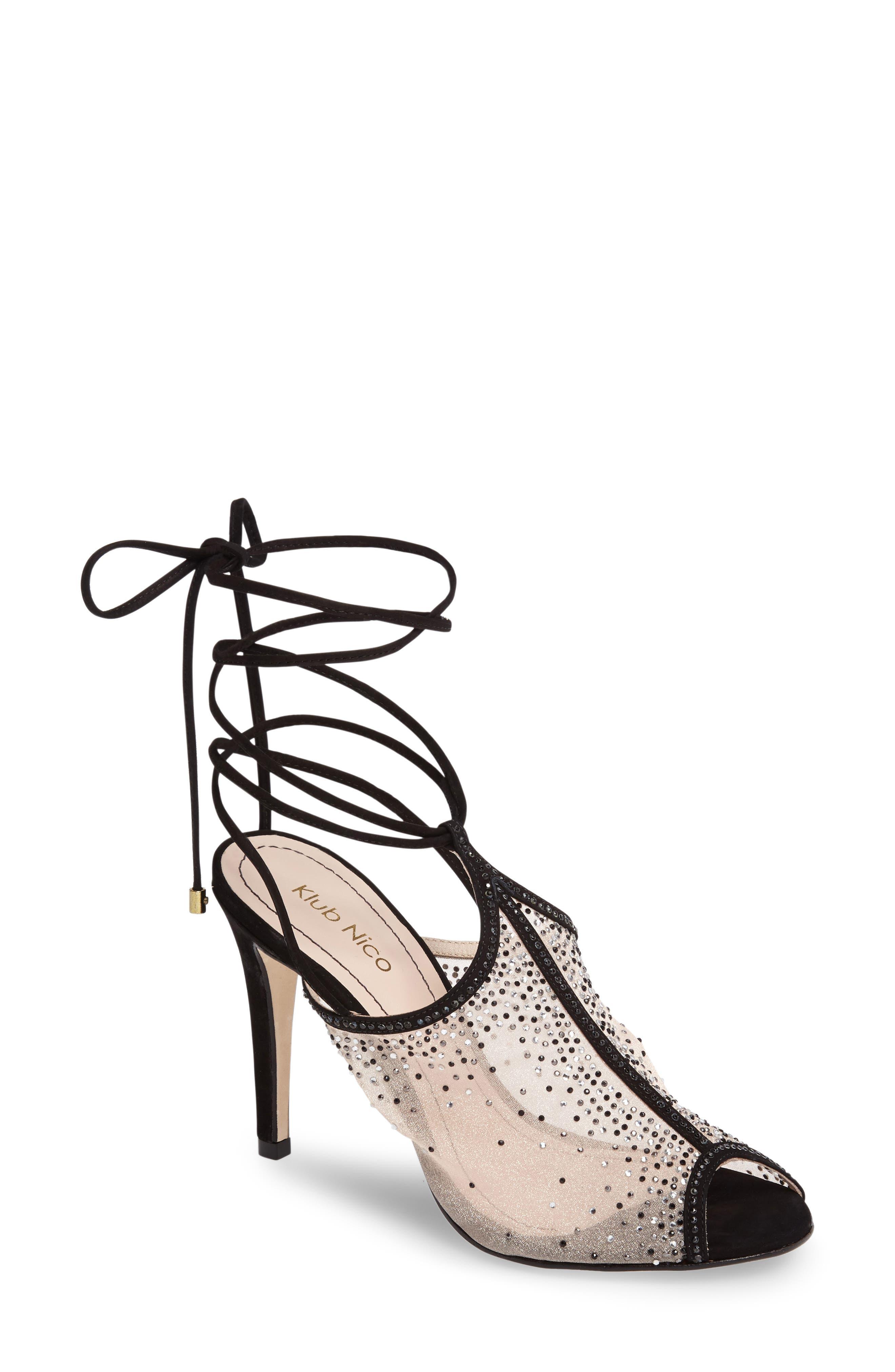 Margeaux Embellished Wraparound Sandal,                         Main,                         color, 002