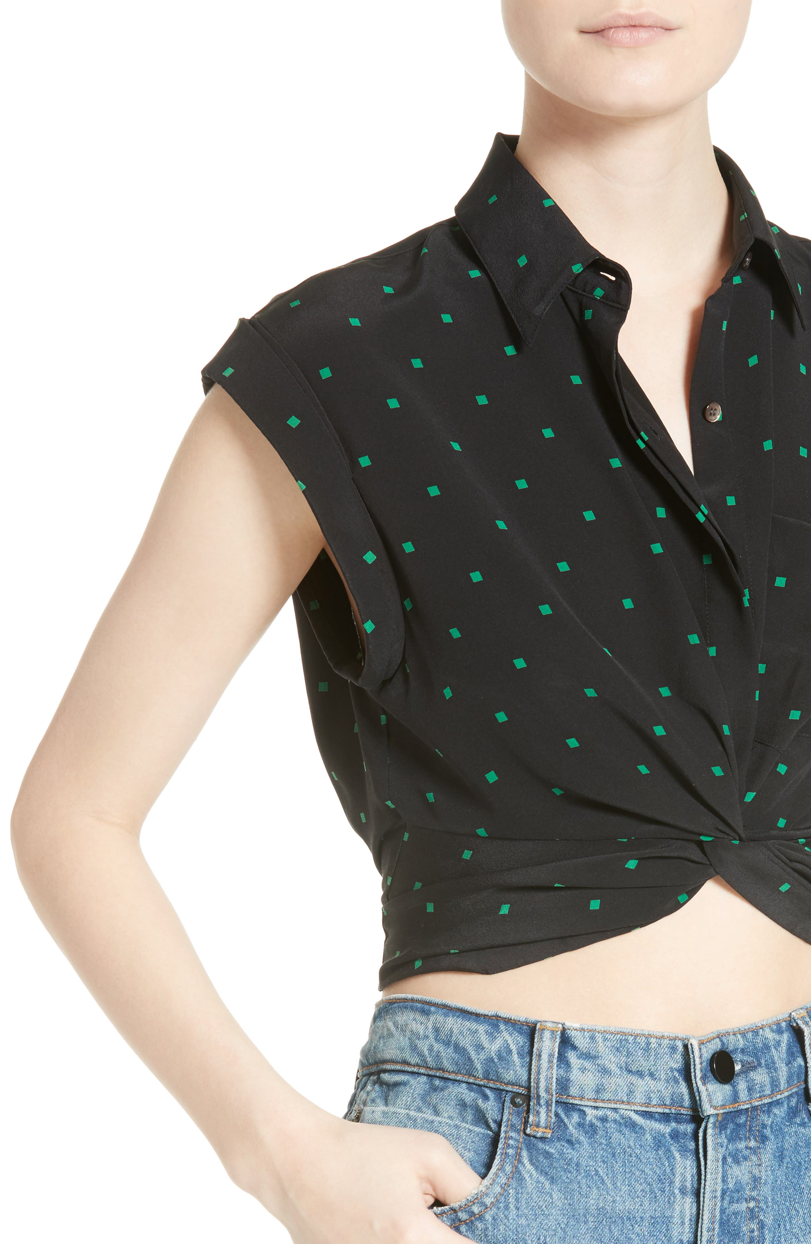 Knotted Print Silk Crop Top,                             Alternate thumbnail 4, color,                             002