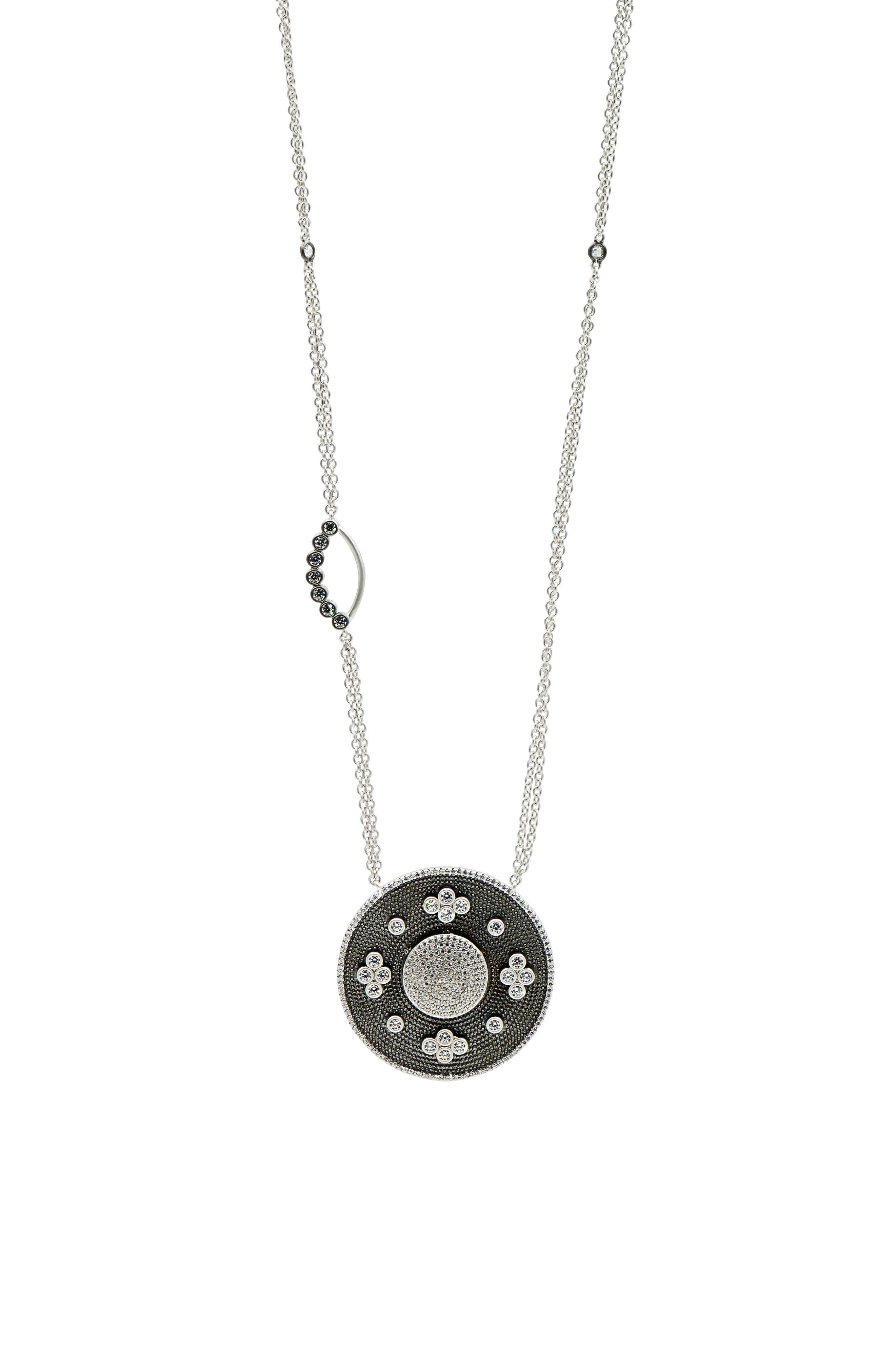 Industrial Finish Pendant Necklace,                             Main thumbnail 1, color,                             BLACK/ SILVER