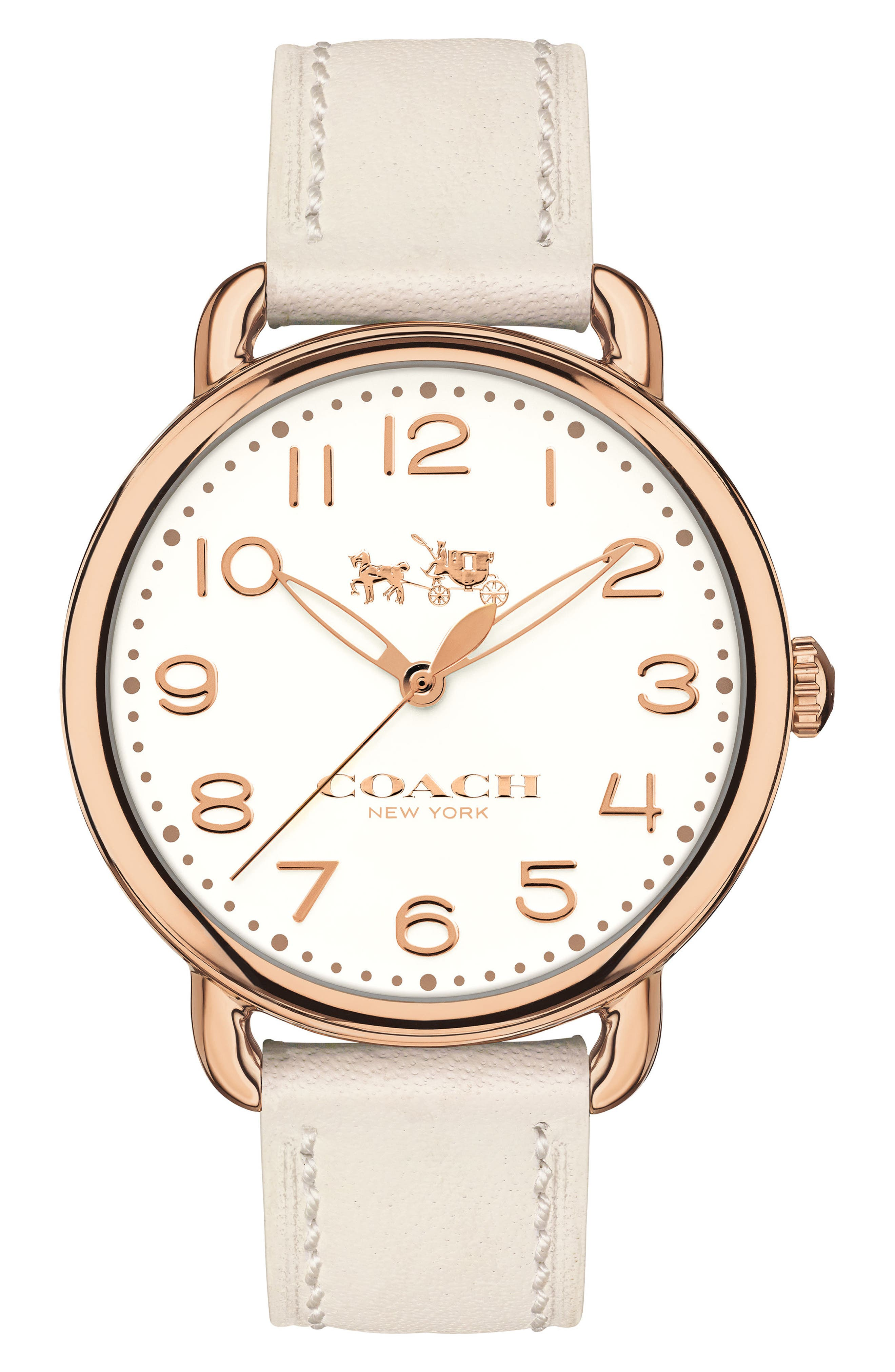 Delancey Leather Strap Watch, 36mm,                             Main thumbnail 1, color,                             WHITE/ ROSE GOLD