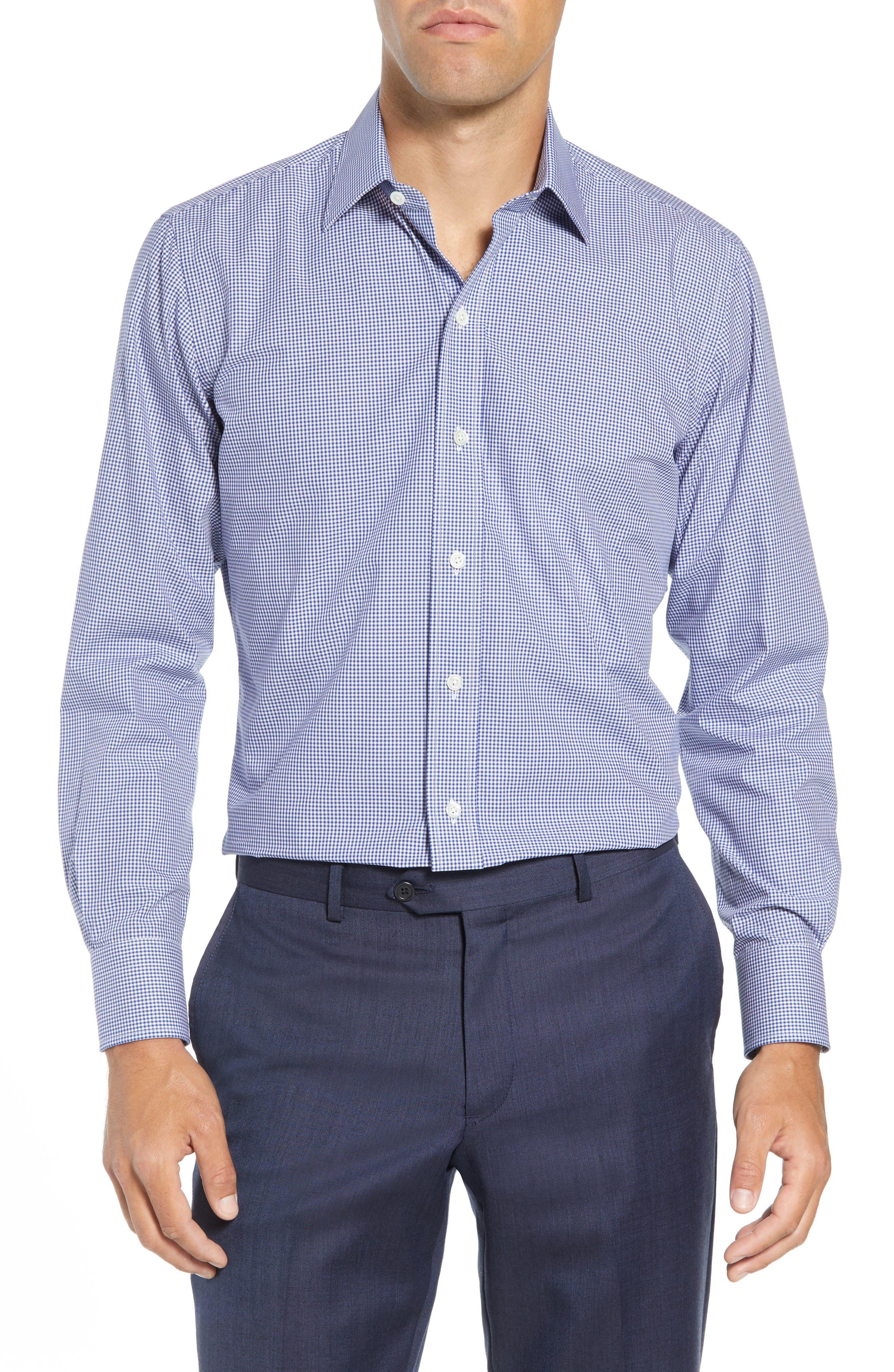Classic Fit Gingham Dress Shirt,                             Main thumbnail 1, color,                             420