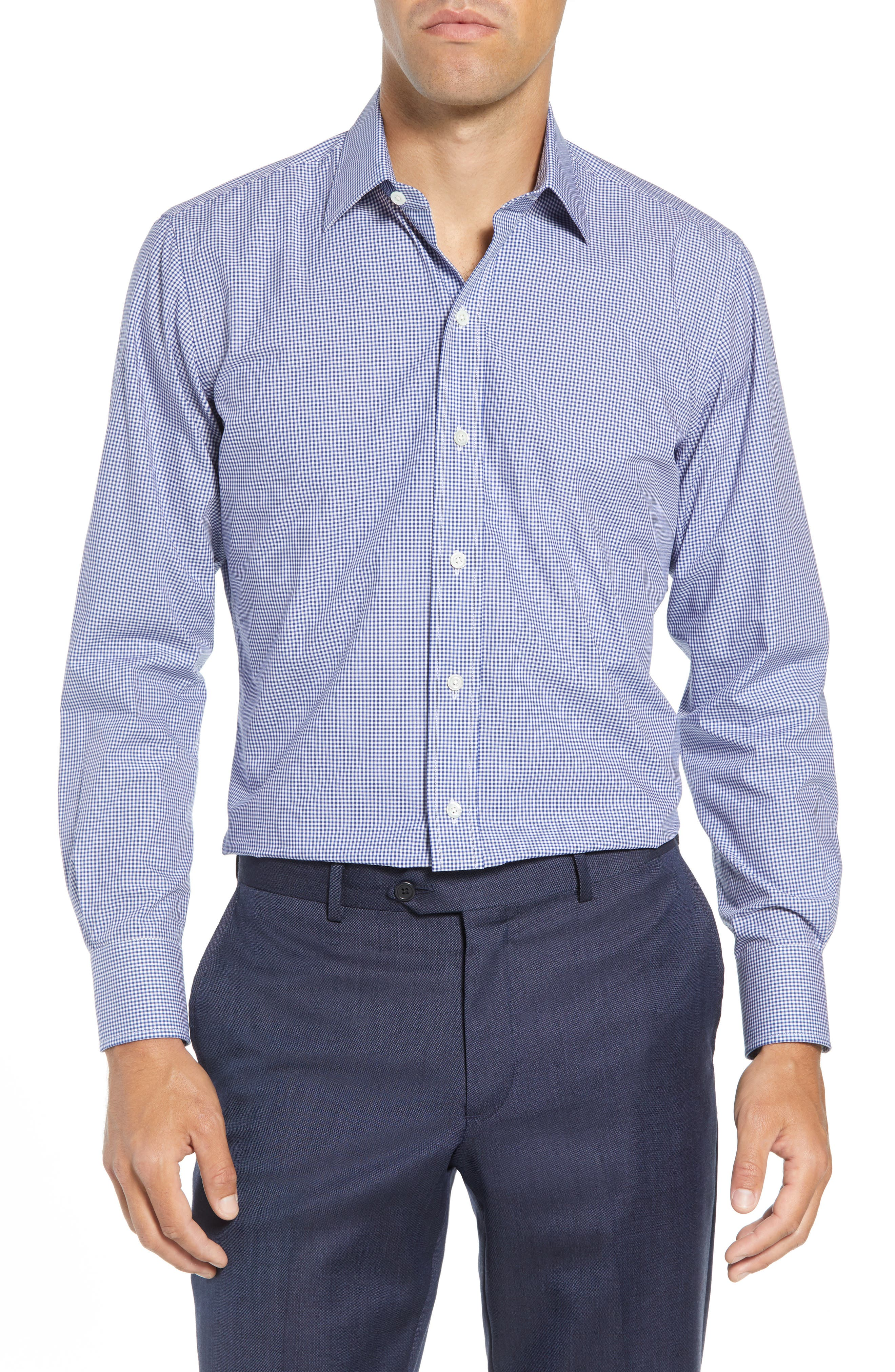 Classic Fit Gingham Dress Shirt,                         Main,                         color, 420