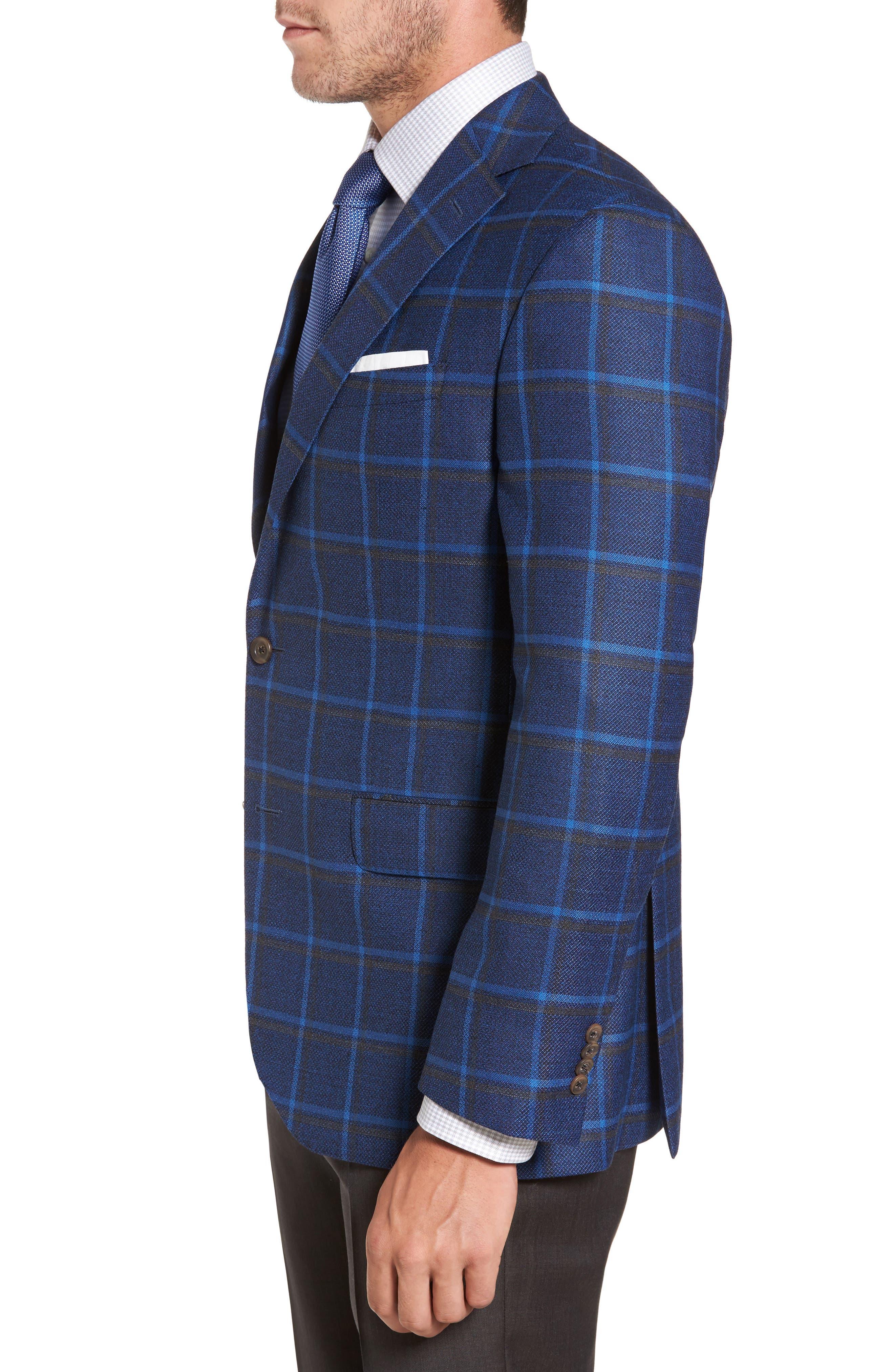 Connor Classic Fit Plaid Sport Coat,                             Alternate thumbnail 3, color,                             400