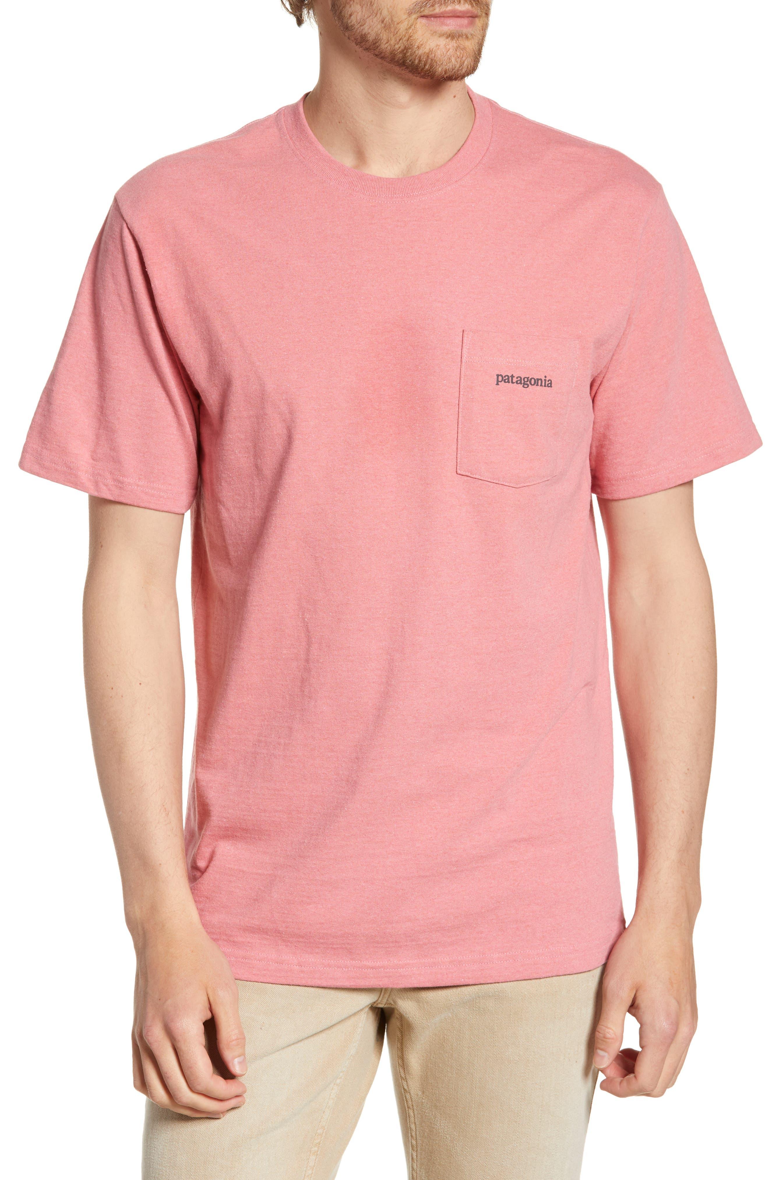 Patagonia Line Ridge Logo Resposibili-Tee Pocket T-Shirt, Pink