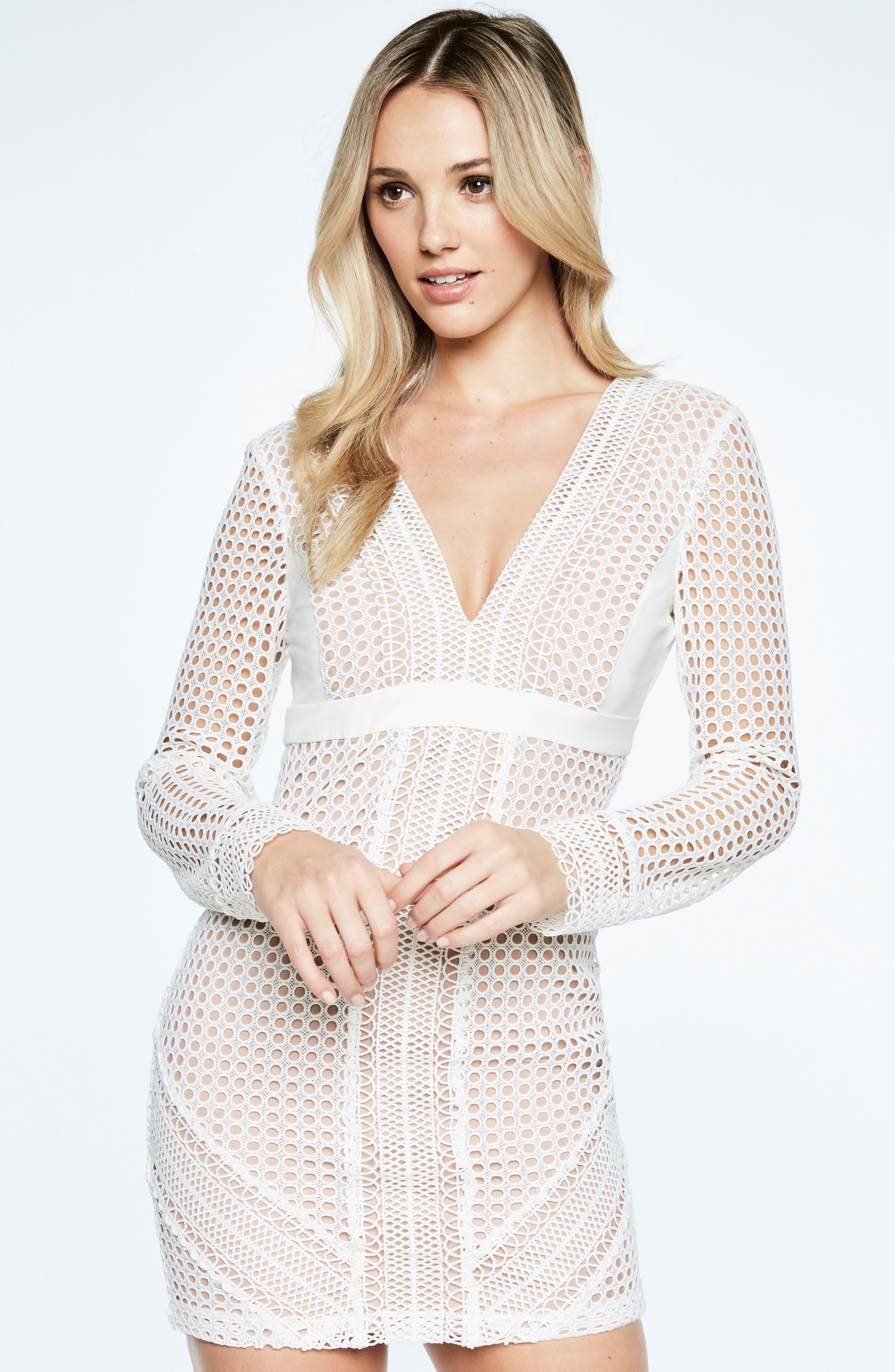 Clio Crochet Body-Con Dress,                             Alternate thumbnail 4, color,