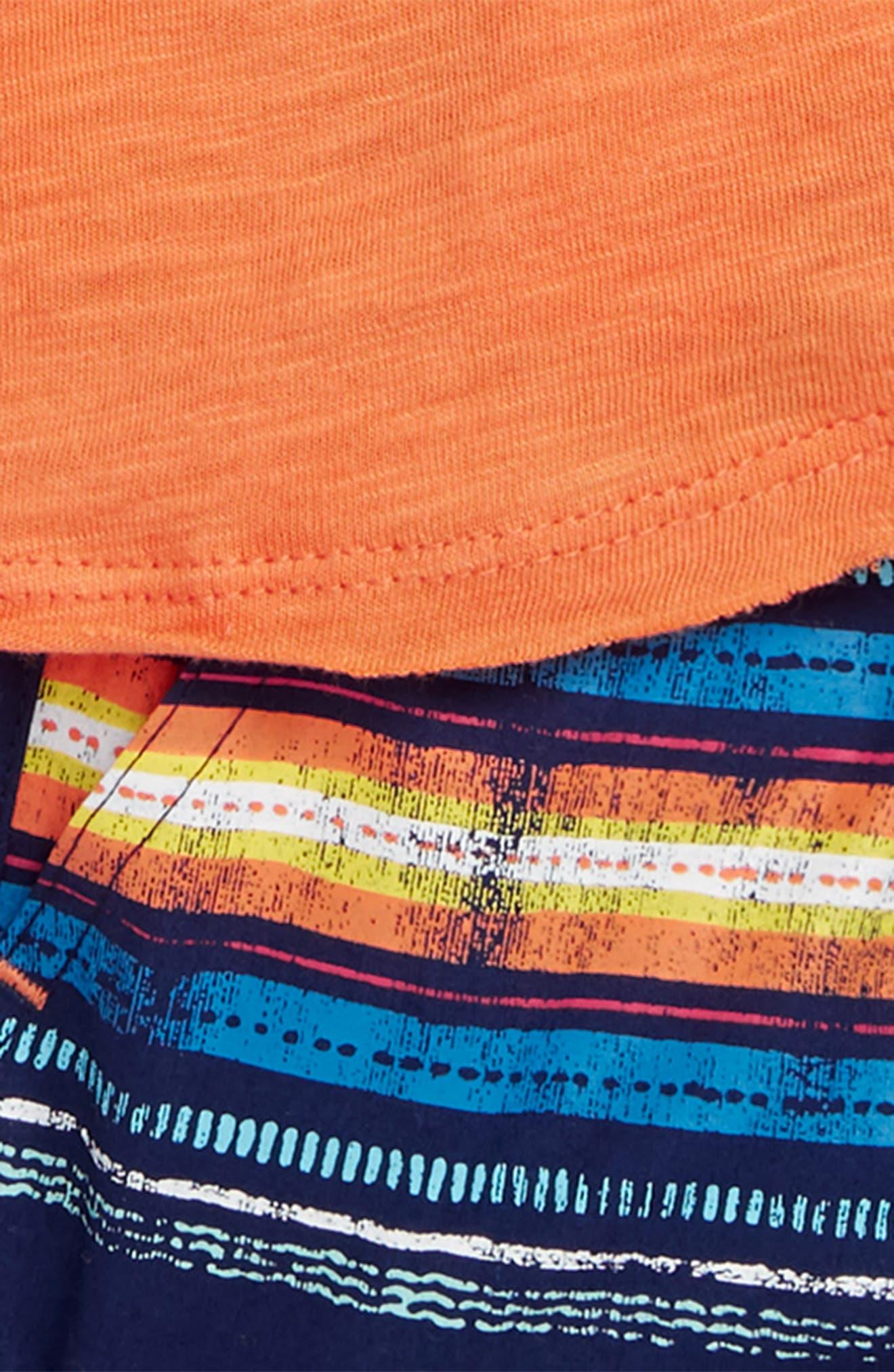 T-Shirt & Stripe Shorts Set,                             Alternate thumbnail 3, color,                             820