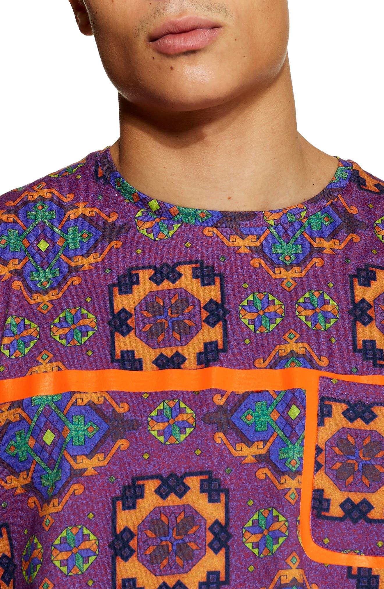 Tapestry Print Pocket T-Shirt,                             Alternate thumbnail 3, color,                             500