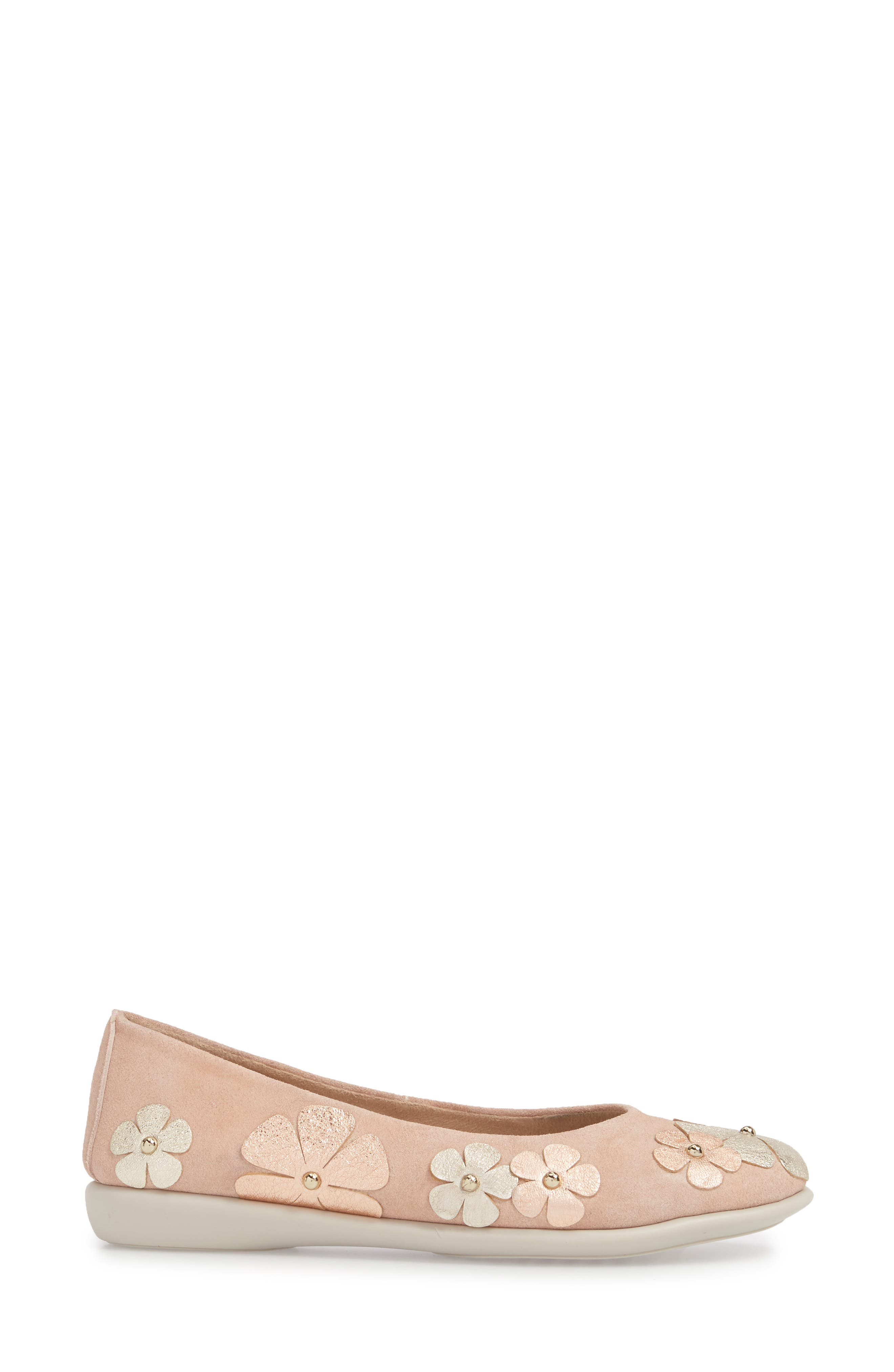 Miss Hippie Ballerina Flat,                             Alternate thumbnail 3, color,                             ROSE GOLD LEATHER