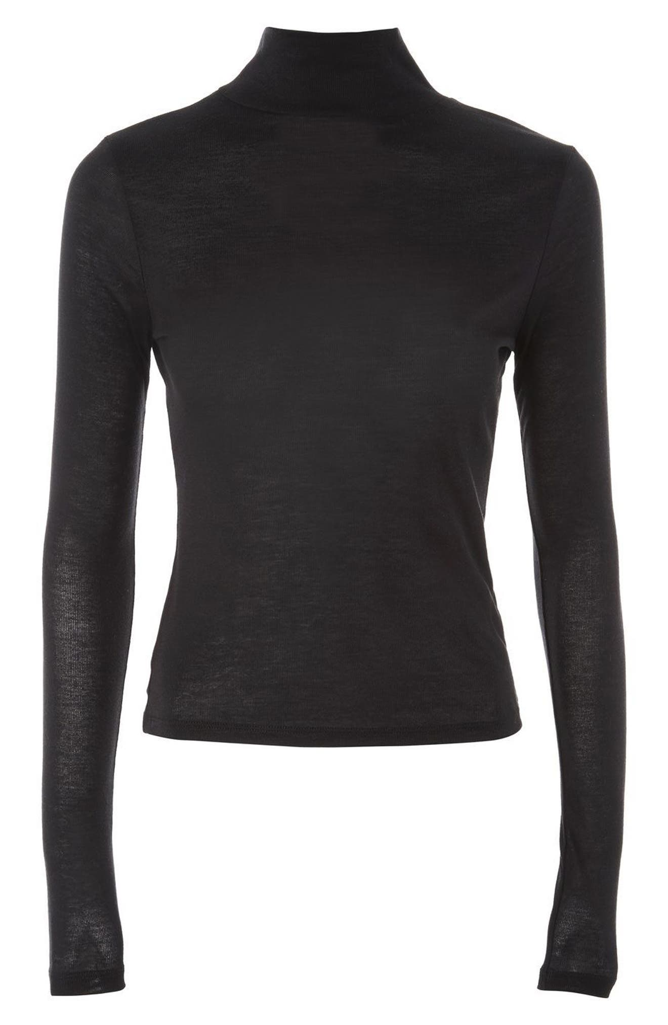 Ribbed Turtleneck Top,                             Alternate thumbnail 3, color,                             001
