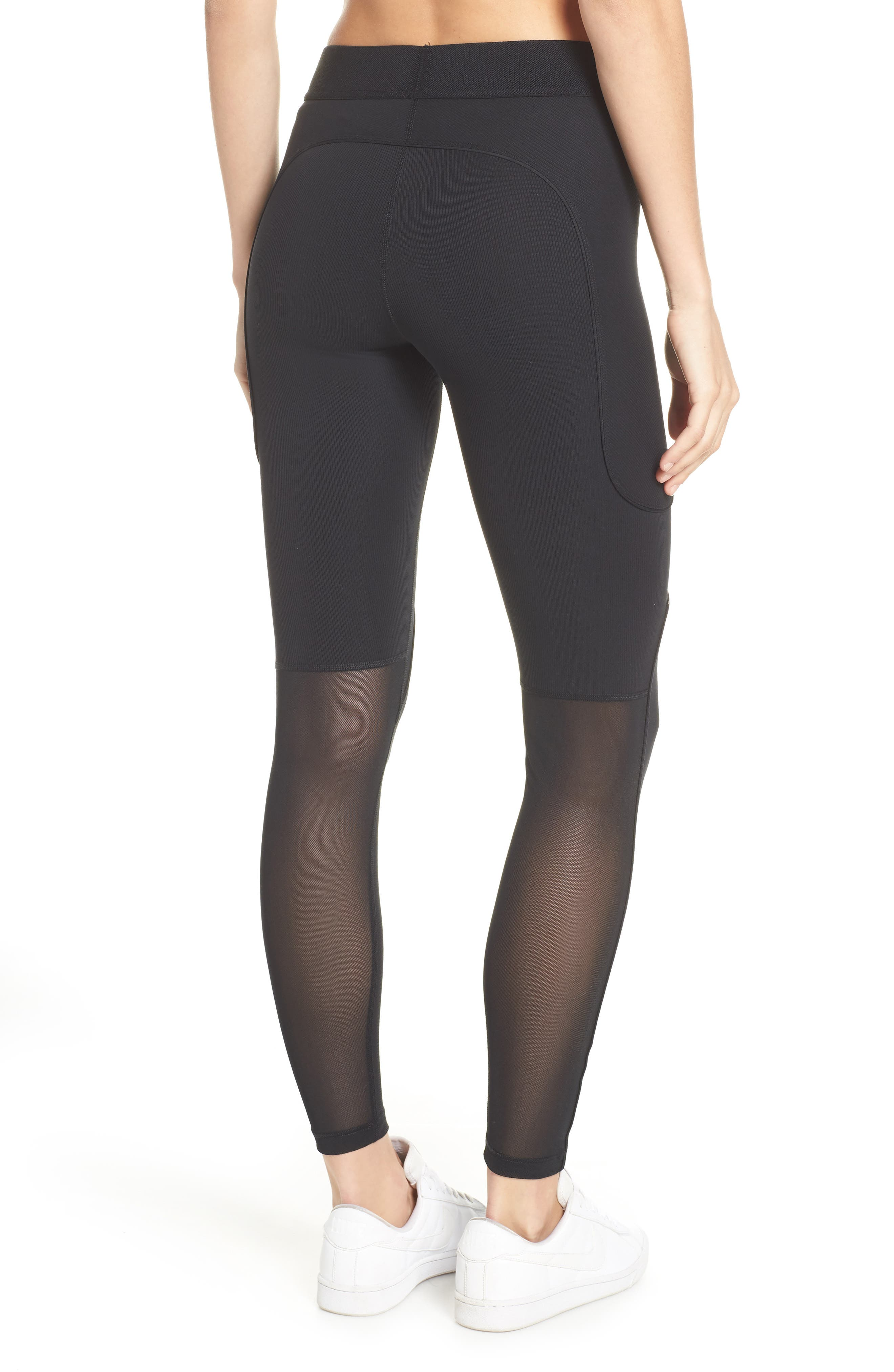 The Nike Pro HyperCool Women's Ribbed Tights,                             Alternate thumbnail 2, color,                             BLACK/ CLEAR