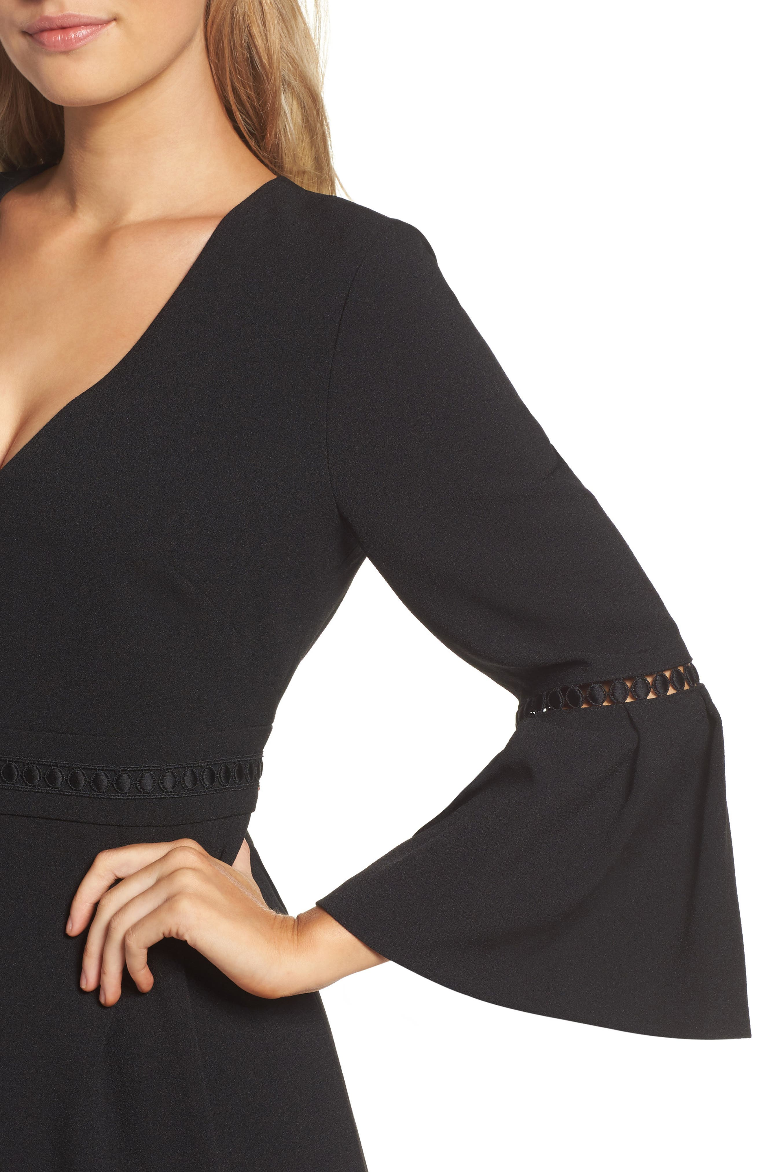 Bell Sleeve Jumpsuit,                             Alternate thumbnail 4, color,                             BLACK
