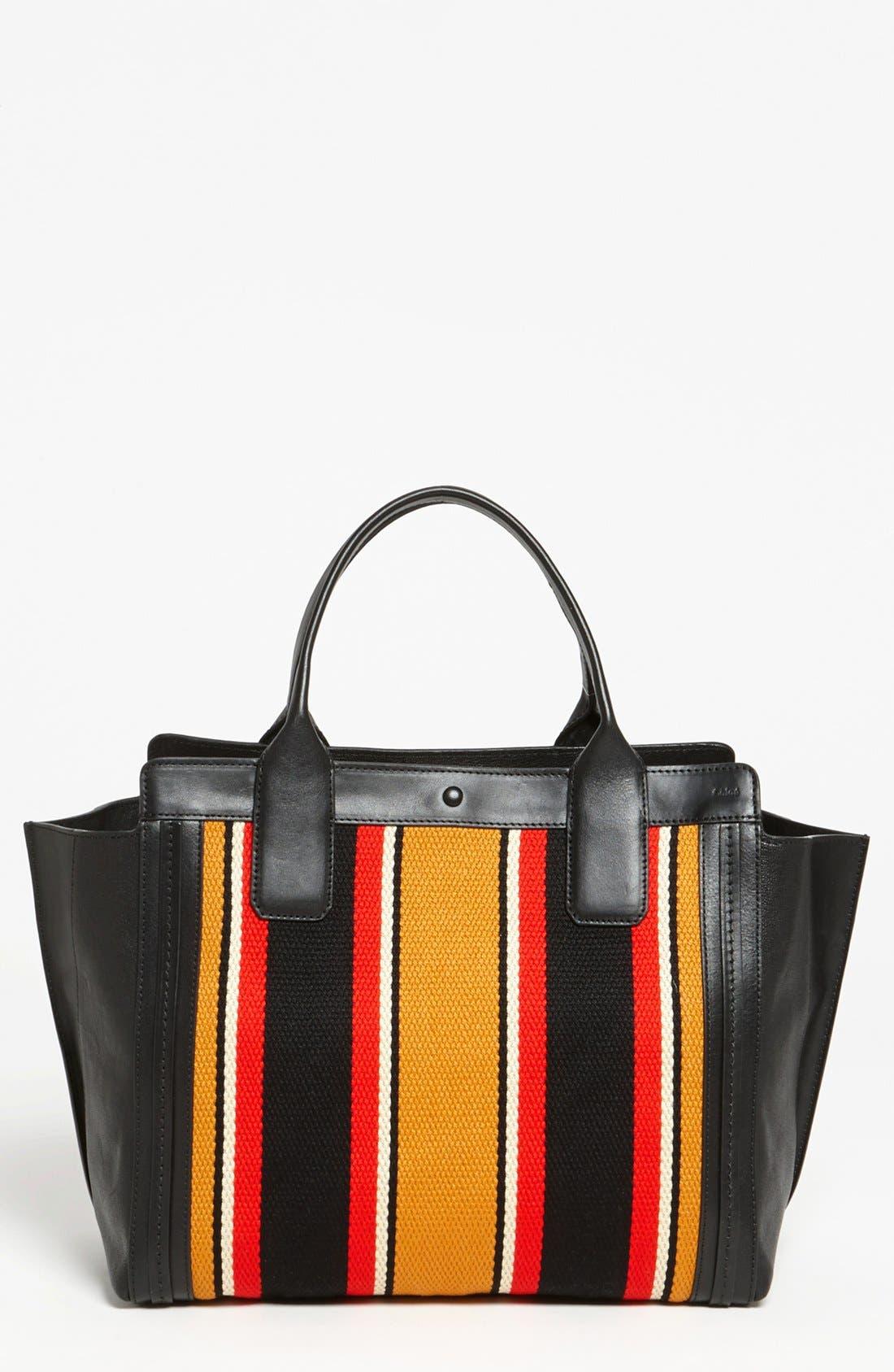 CHLOÉ 'Alison - Mini' Stripe Inset Leather Tote, Main, color, 840